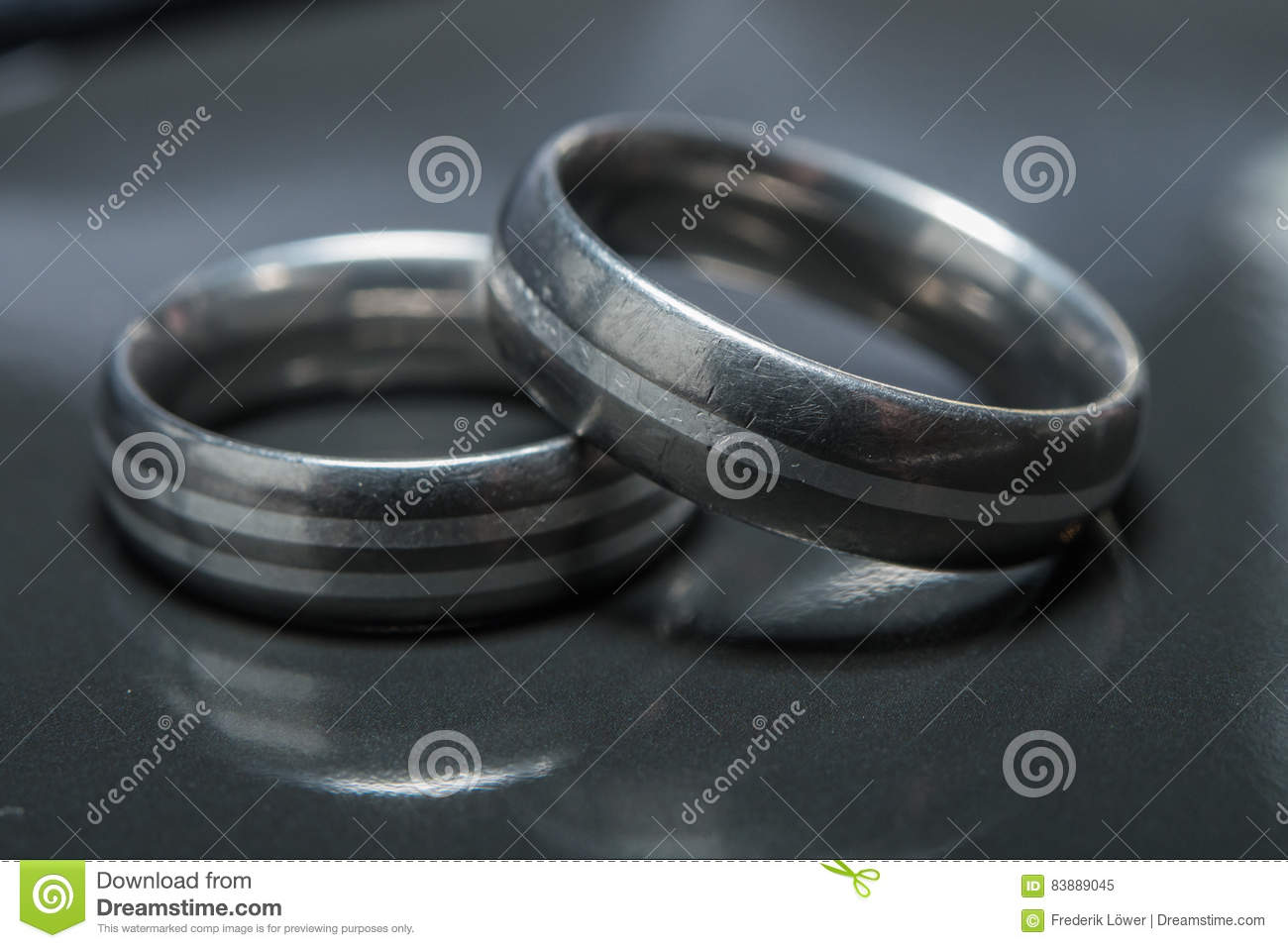 Two Used Wedding Rings On Grey Background Stock Image Image Of