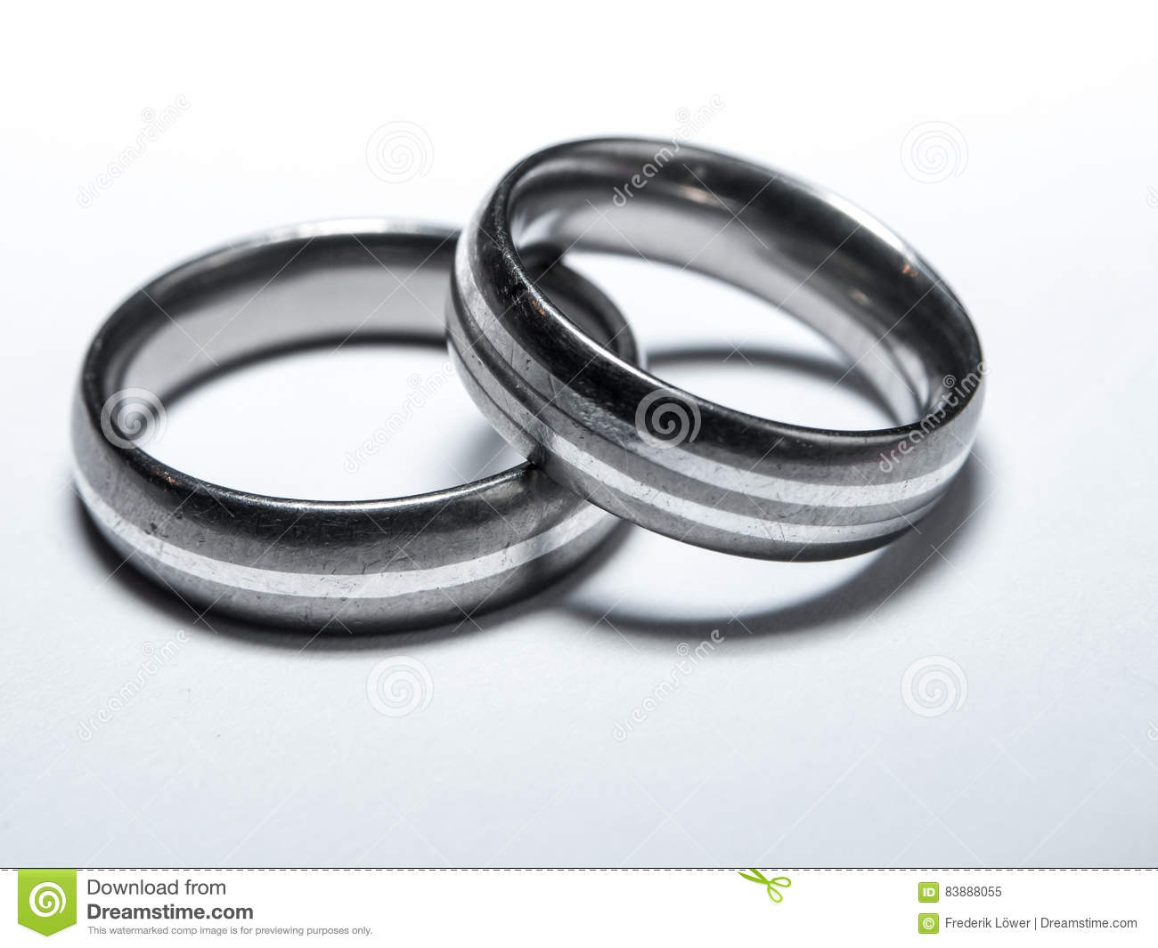 Two Used Wedding Rings On White Background Stock Image Image Of