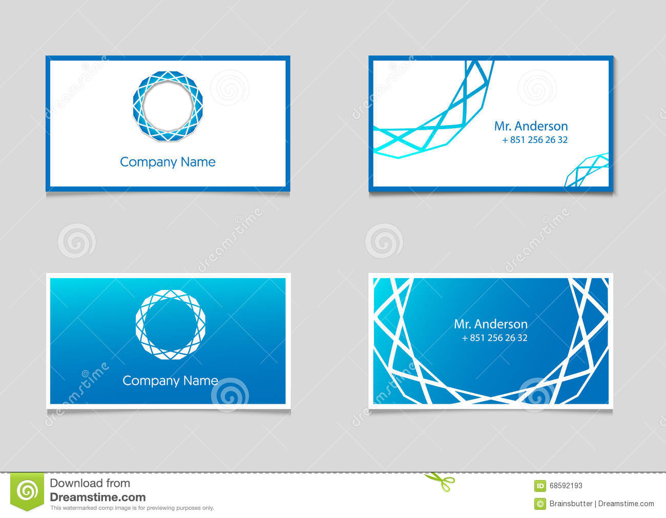 Two vector business card templates with blue gradient and company two vector business card templates with blue gradient and company logo magicingreecefo Image collections