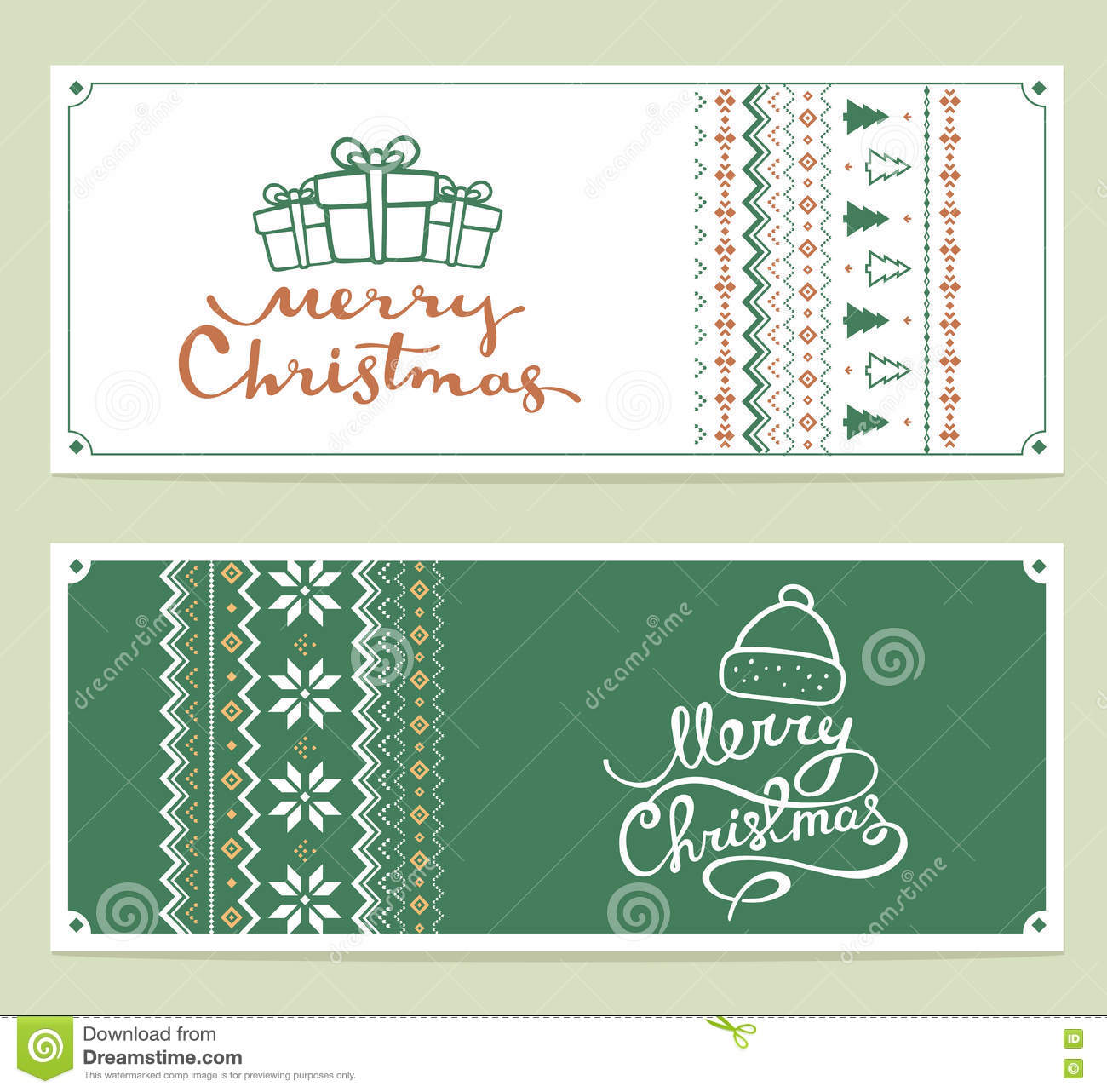 Two vector christmas stylized illustration with handwritten text