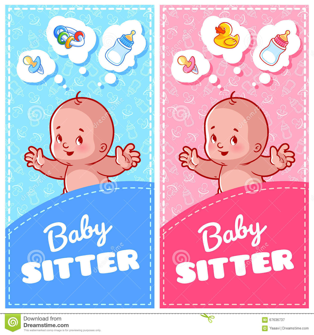 Two Vertical Flyer Of Babysitter With Cute Toddler And Baby Toys