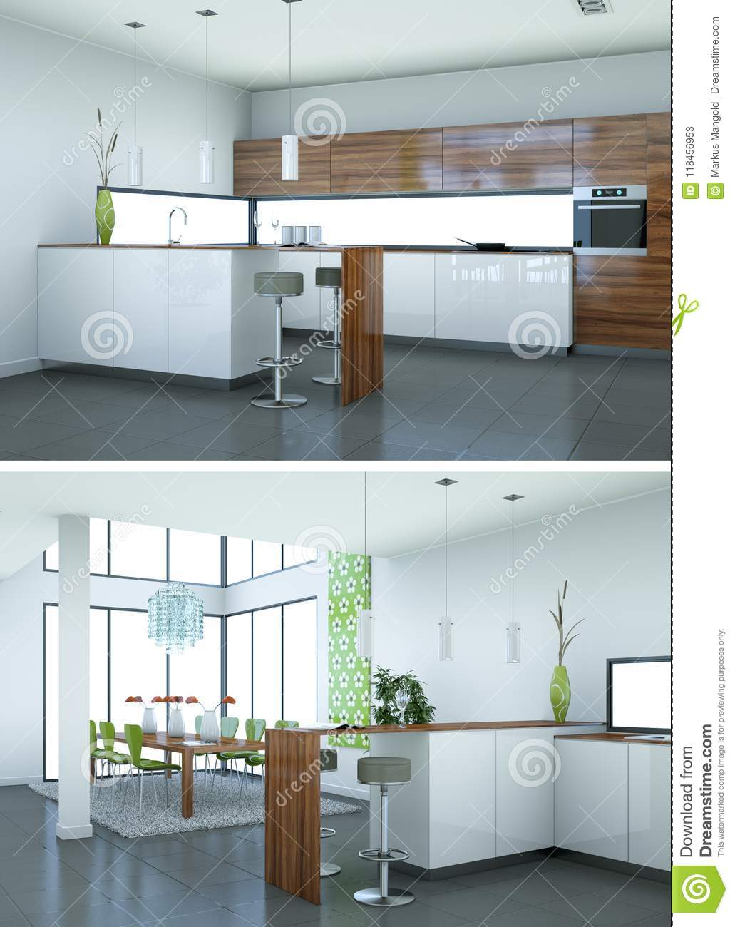 Two Views Of Modern Kitchen Interior Design Stock Image - Image of ...