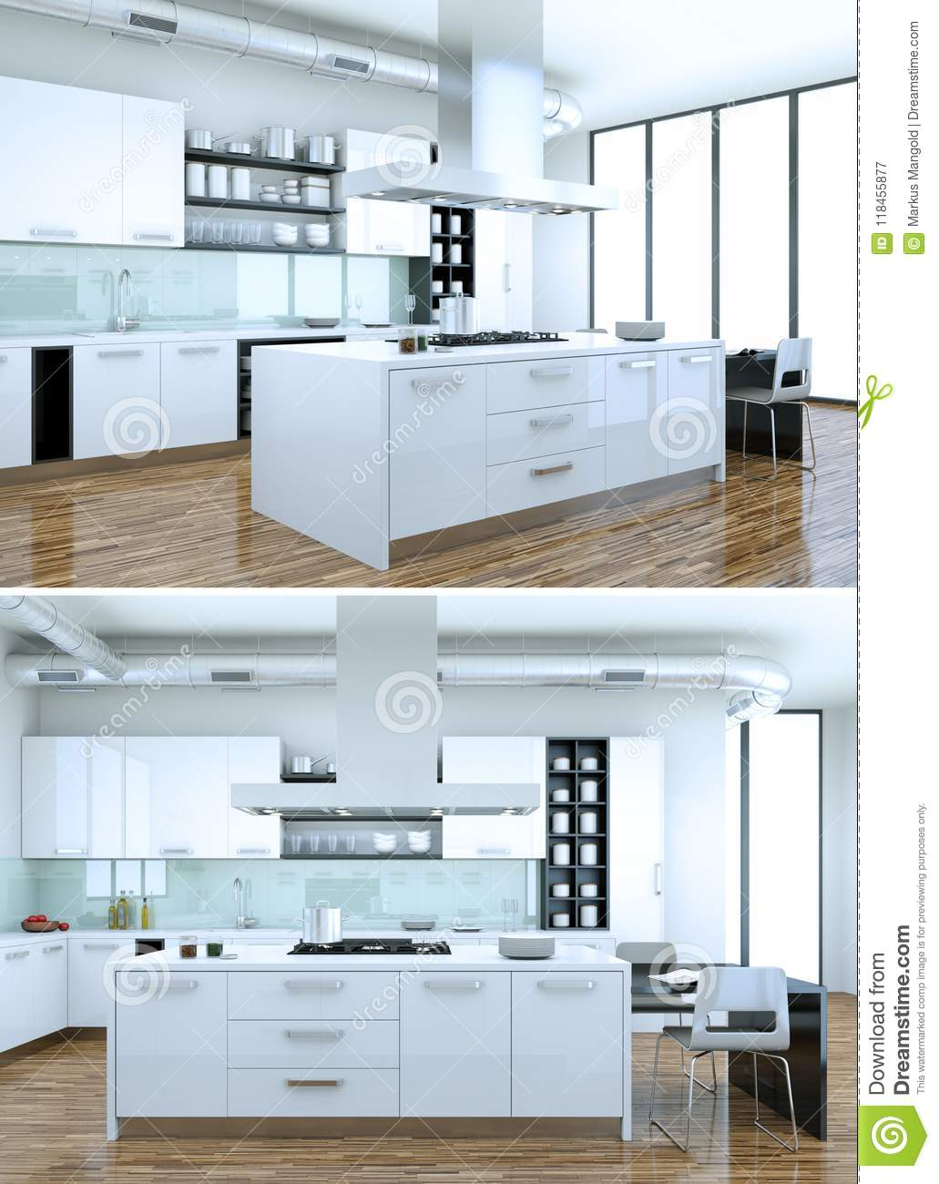 Two Views Of Modern White Kitchen Interior Design Stock Illustration ...