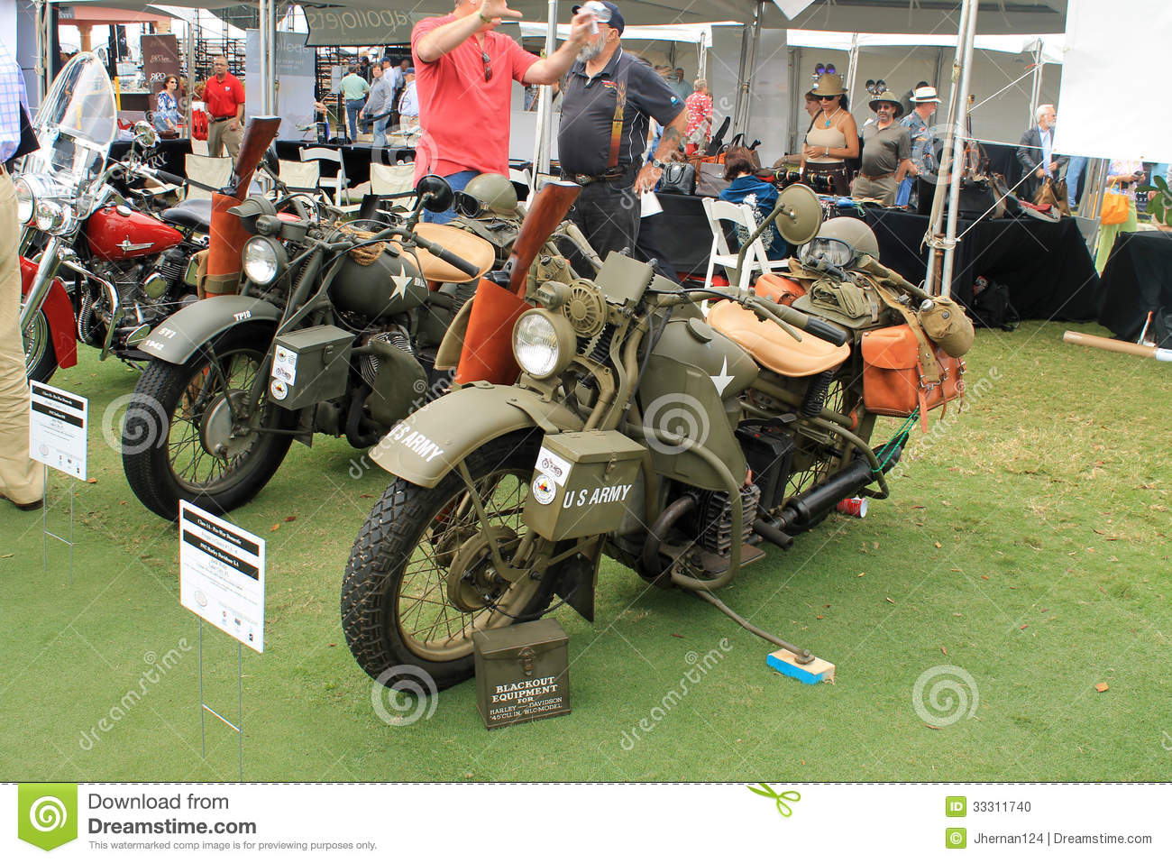Two Vintage American Military Motorcycle Editorial Image