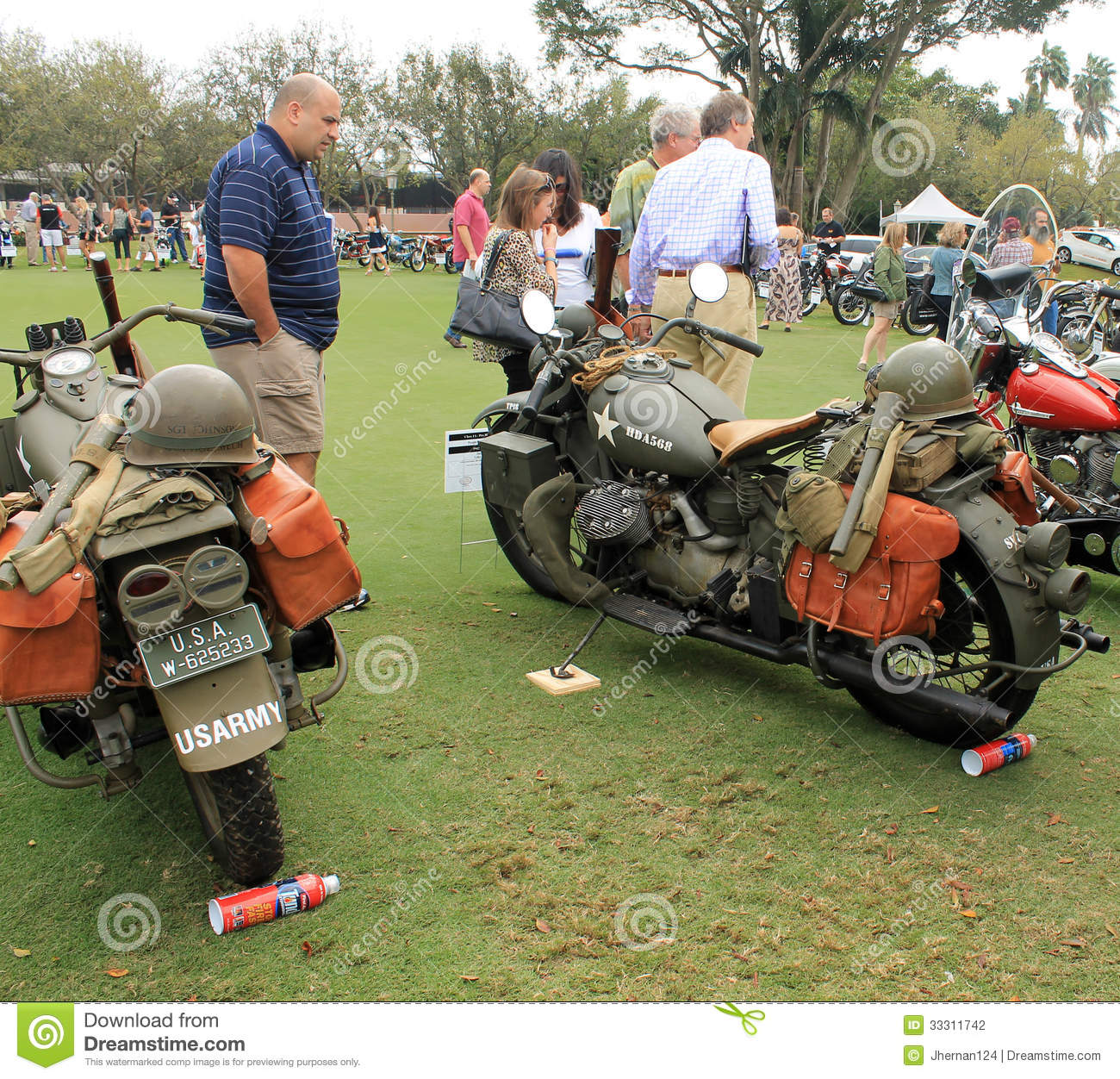 Two Restored Classic historic military motorcycles next to each other ...