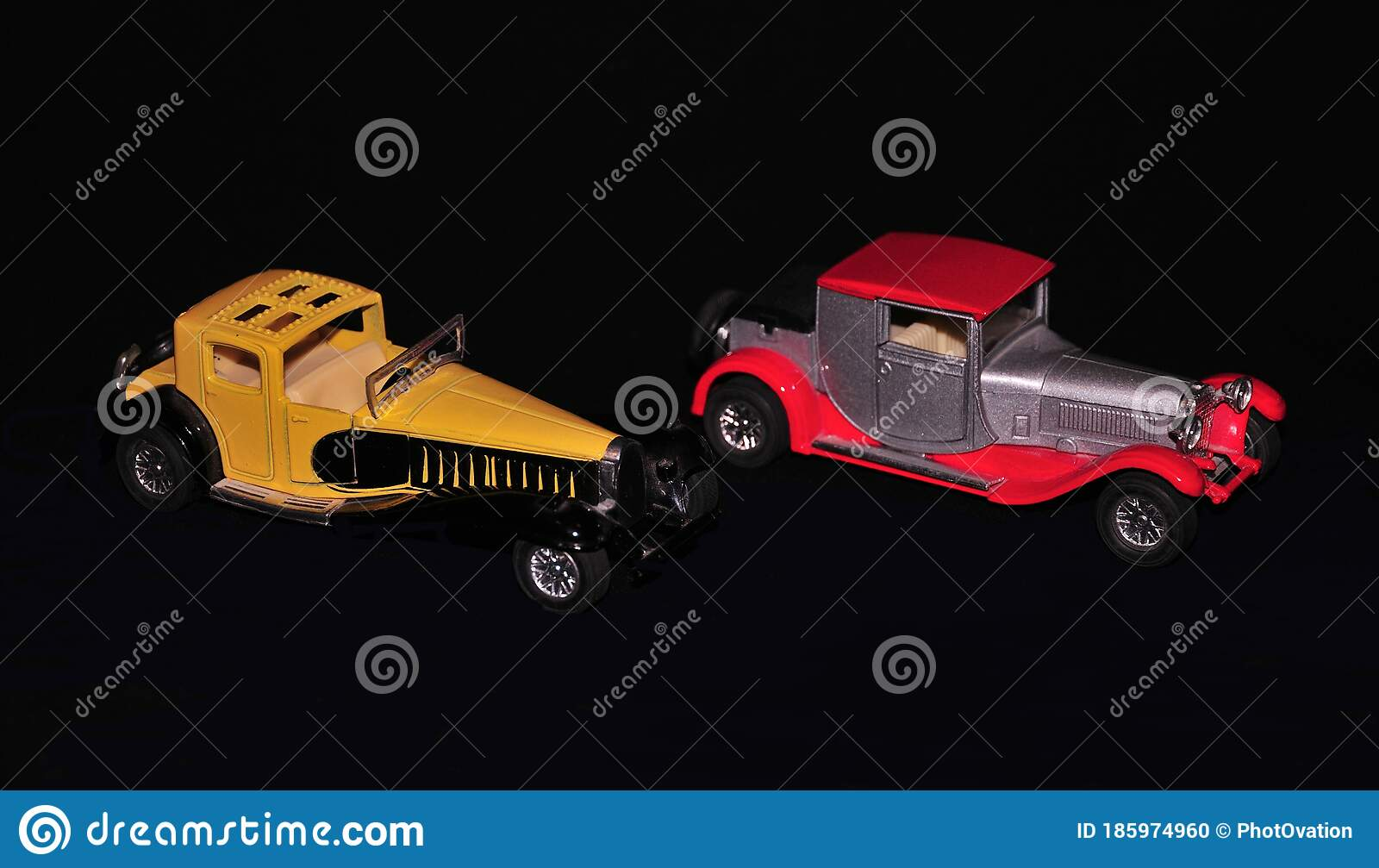 Two Vintage Cars Models Arranged On Black Background To Create Innovative Image Stock Photo Image Of Silver Fast 185974960