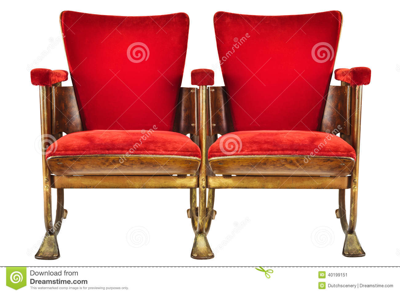Two Vintage Movie Theater Chairs Isolated On White Stock