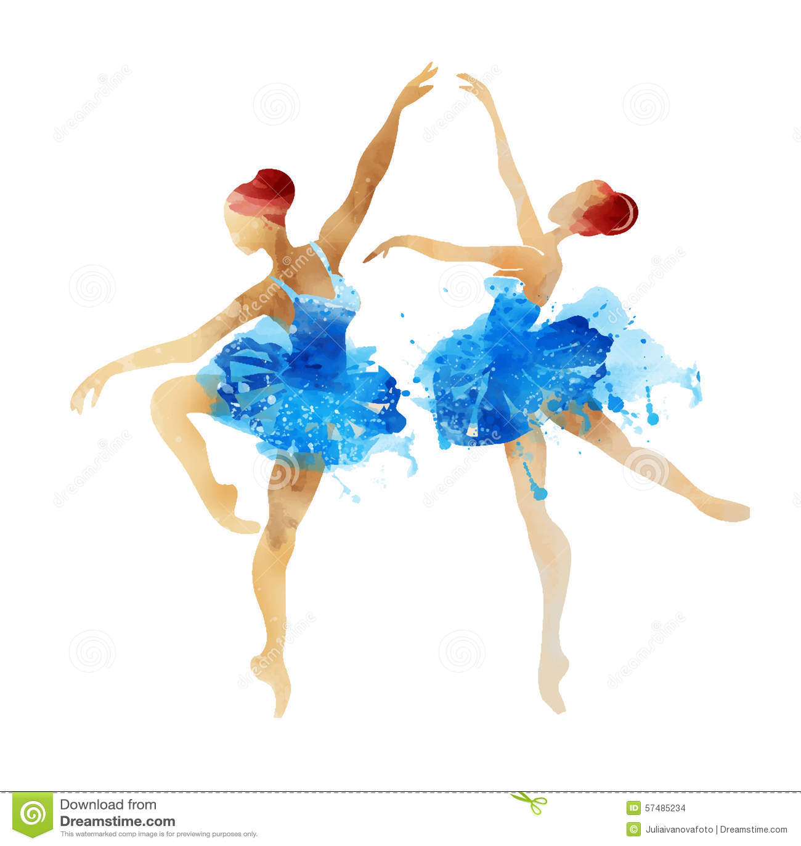 Two Watercolor Ballerina Dancing Stock Vector