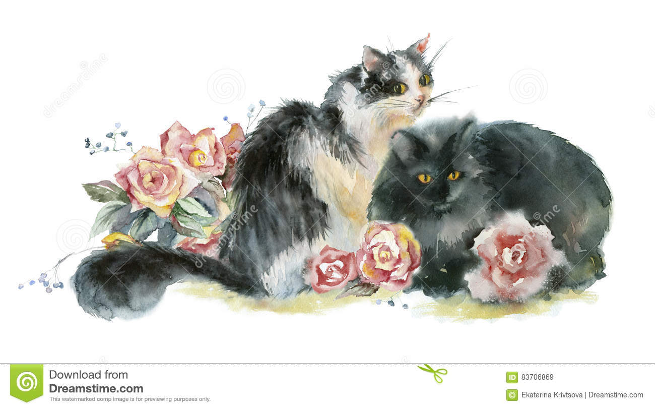 Two Watercolor Cats. Stock Illustration