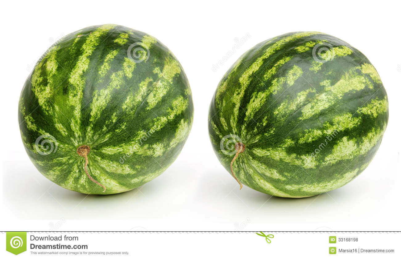 Two Watermelons On White Royalty Free Stock Photos - Image: 33168198