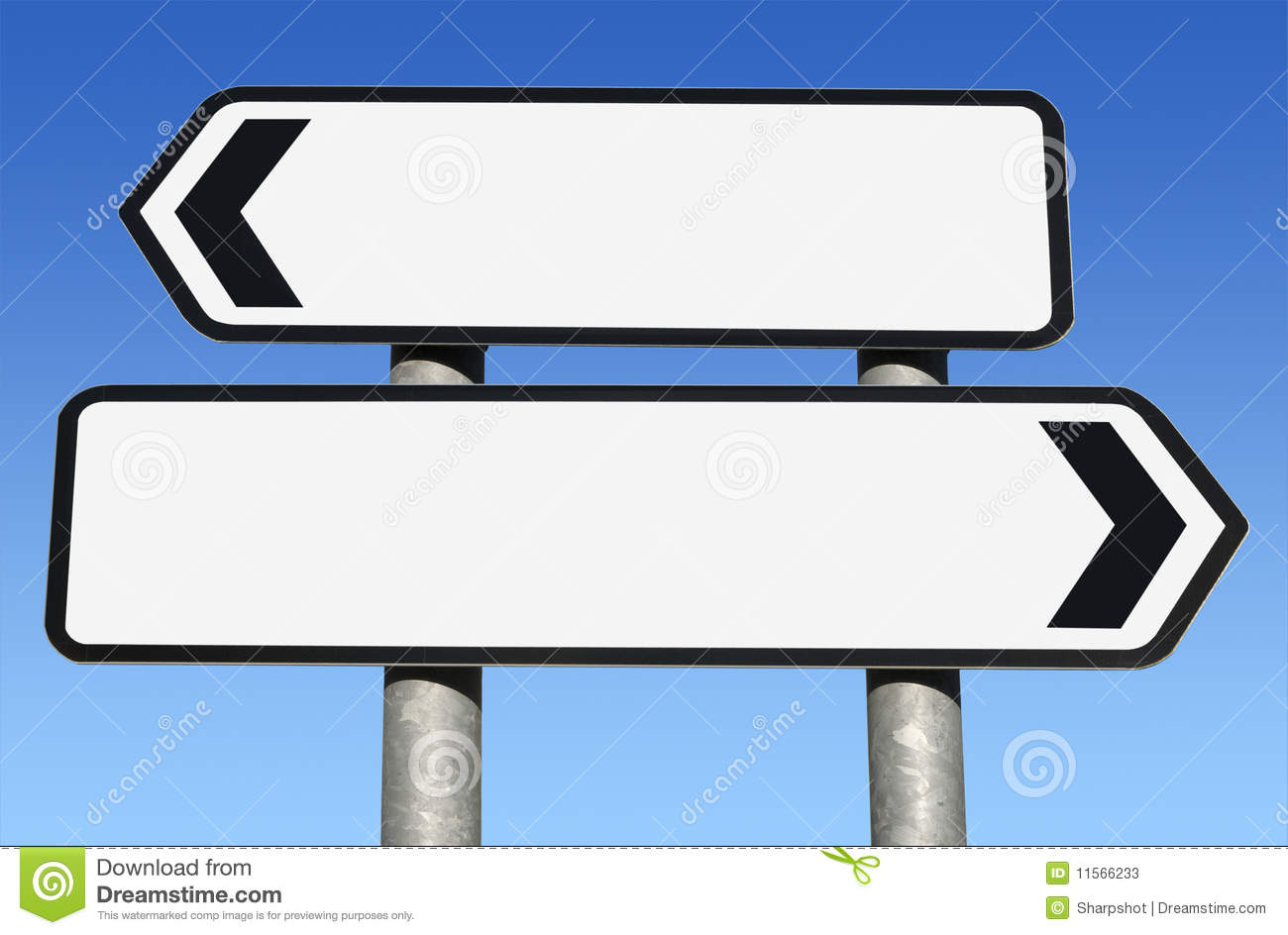 two way blank road sign with copy space stock photos