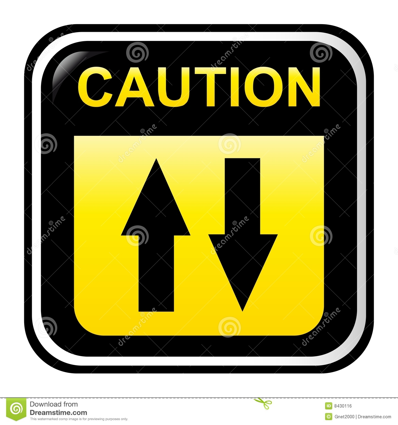 Two way caution sign