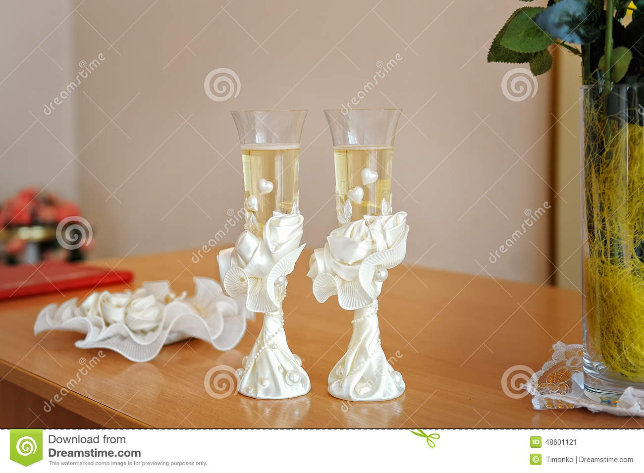 stock photo two wedding glasses decorated champagne image wedding glasses Two wedding glasses decorated with champagne