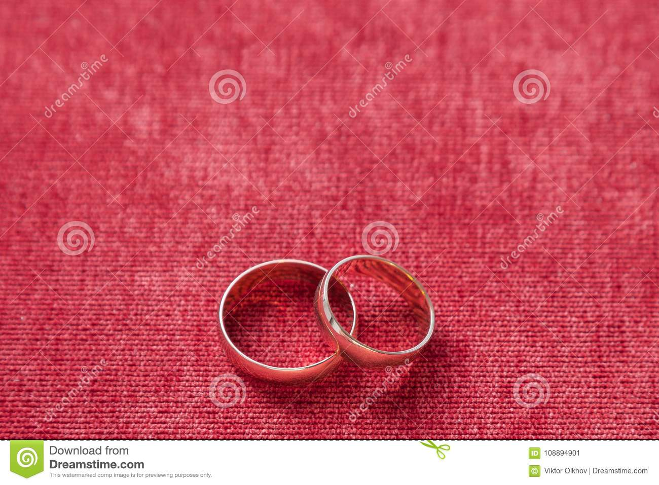 Two Wedding Rings On The Background Of Red Velvet Stock Image ...