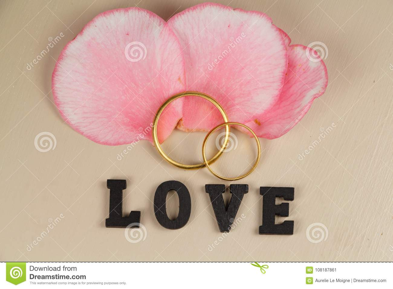 Two Wedding Rings In Gold, Pink Petals And Love Stock Image - Image ...