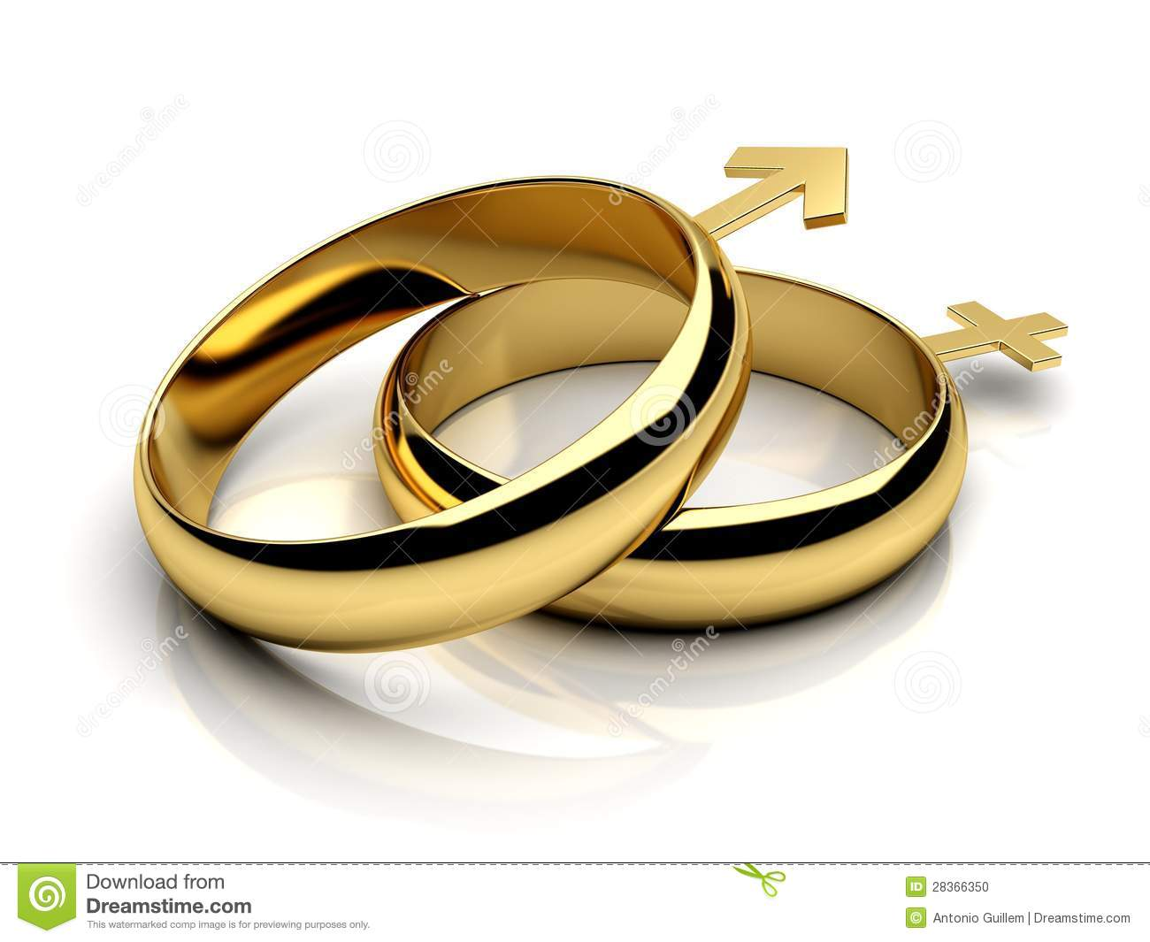 Two wedding rings with male female symbols stock photo for Wedding rings for male and female