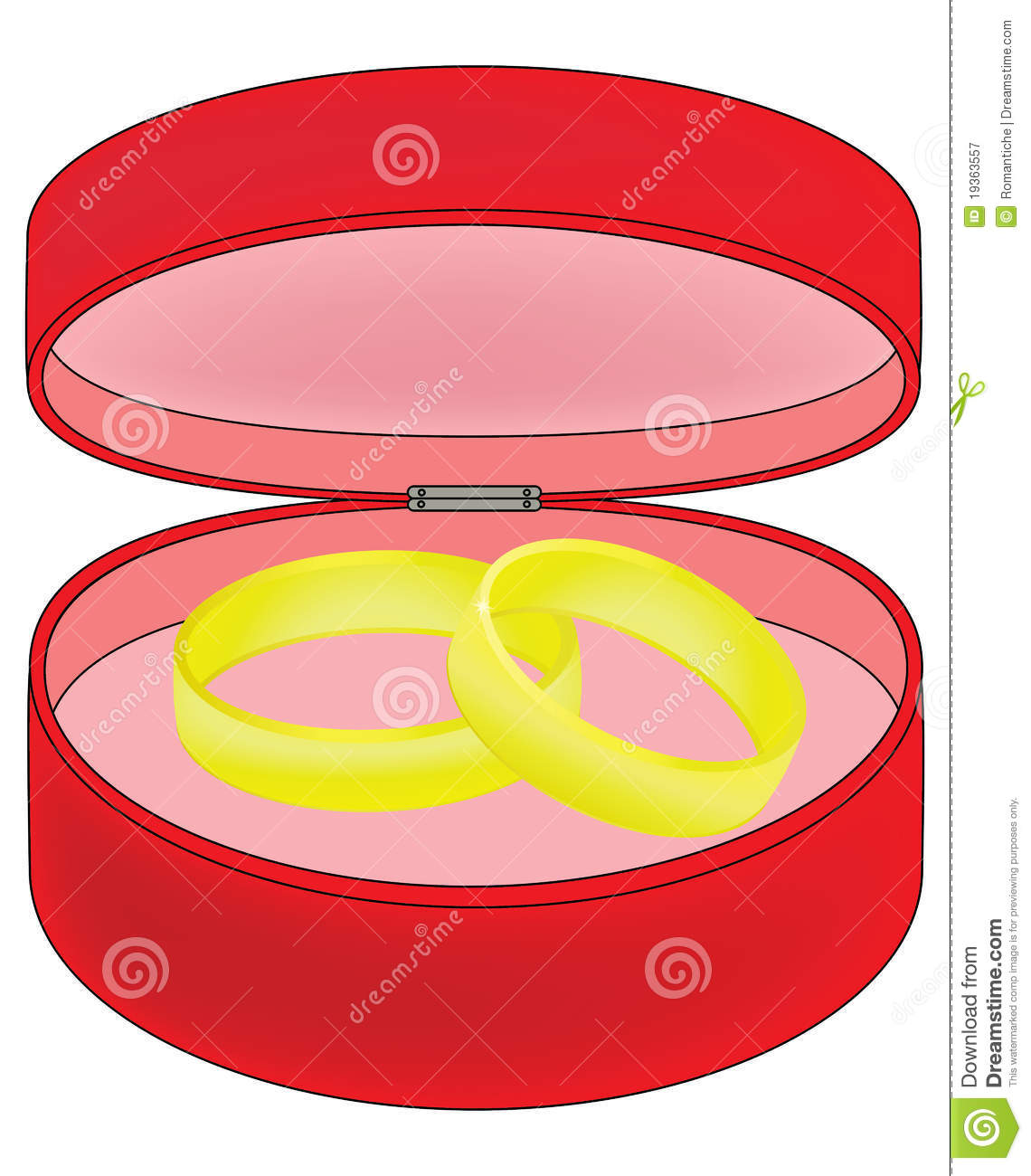 Two Wedding Rings In A Red Box Stock Vector - Illustration of event ...