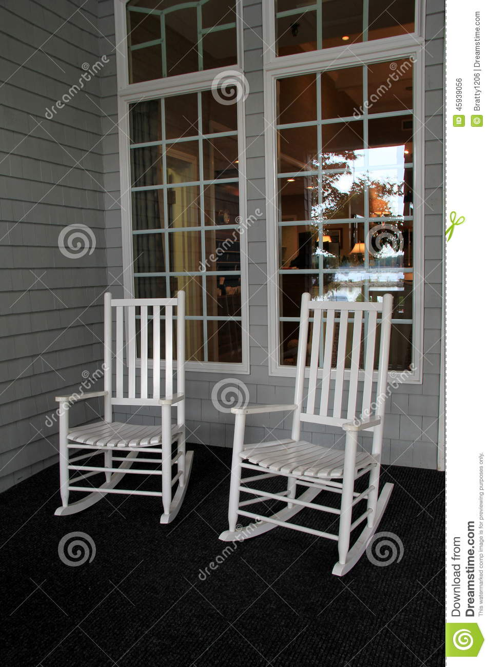 Two white Adirondack rocking chairs on front porch & Two White Adirondack Rocking Chairs On Front Porch Stock Photo ...