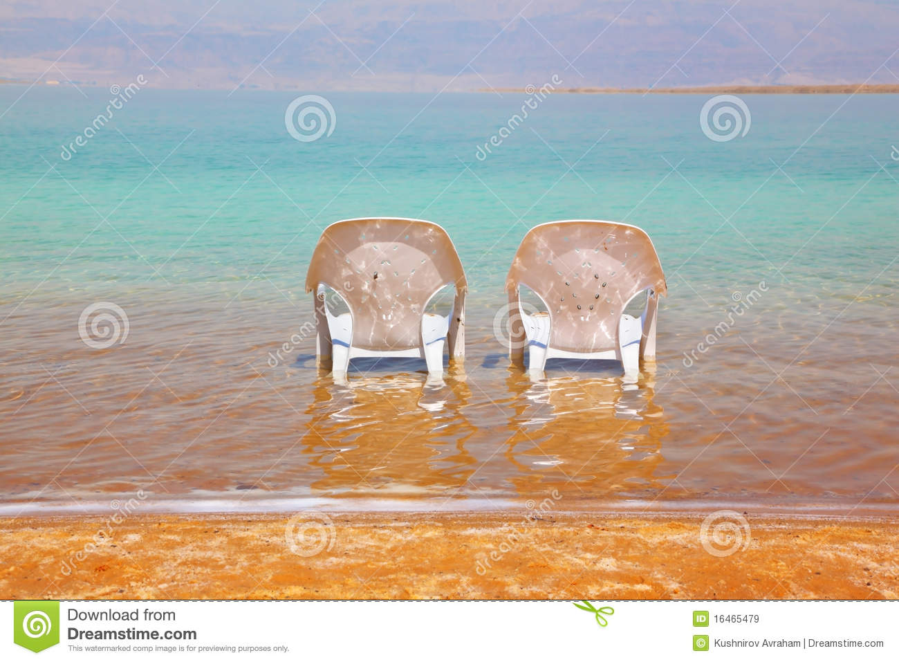 Two White Beach Chairs Stood Side By Side Royalty Free Stock Image