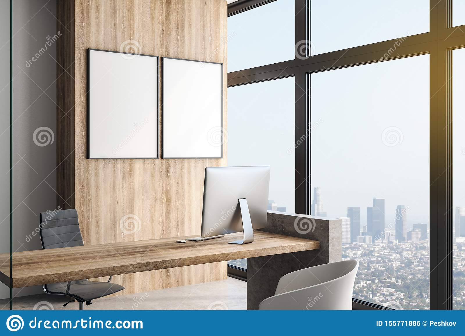 Two white blank posters in modern office with megapolis view