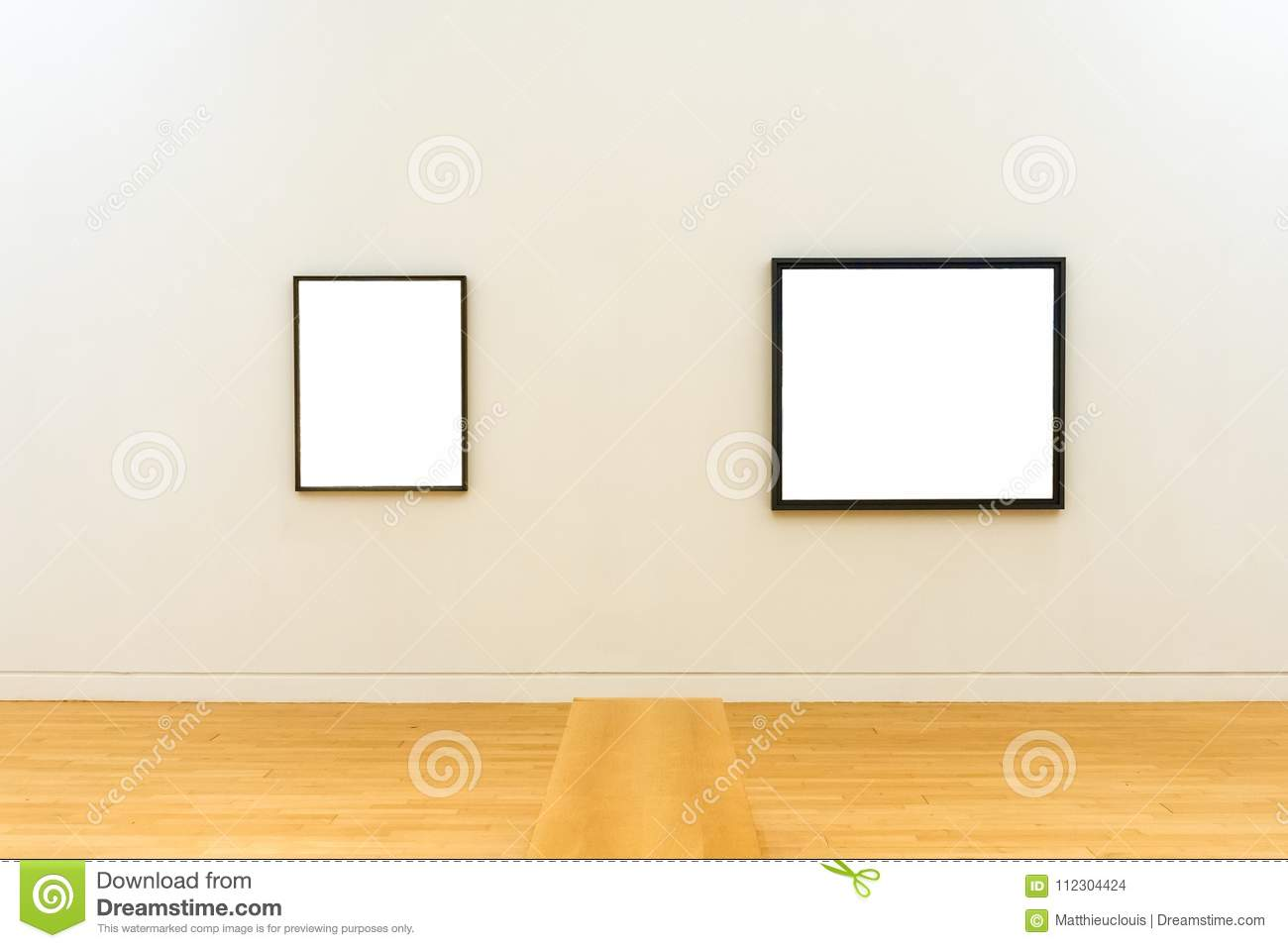 Two White Clipped Paintings With Wooden Frames Stock Photo - Image ...