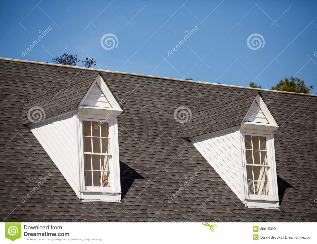 Two White Dormers On Grey Shingle Roof Stock Photo Image
