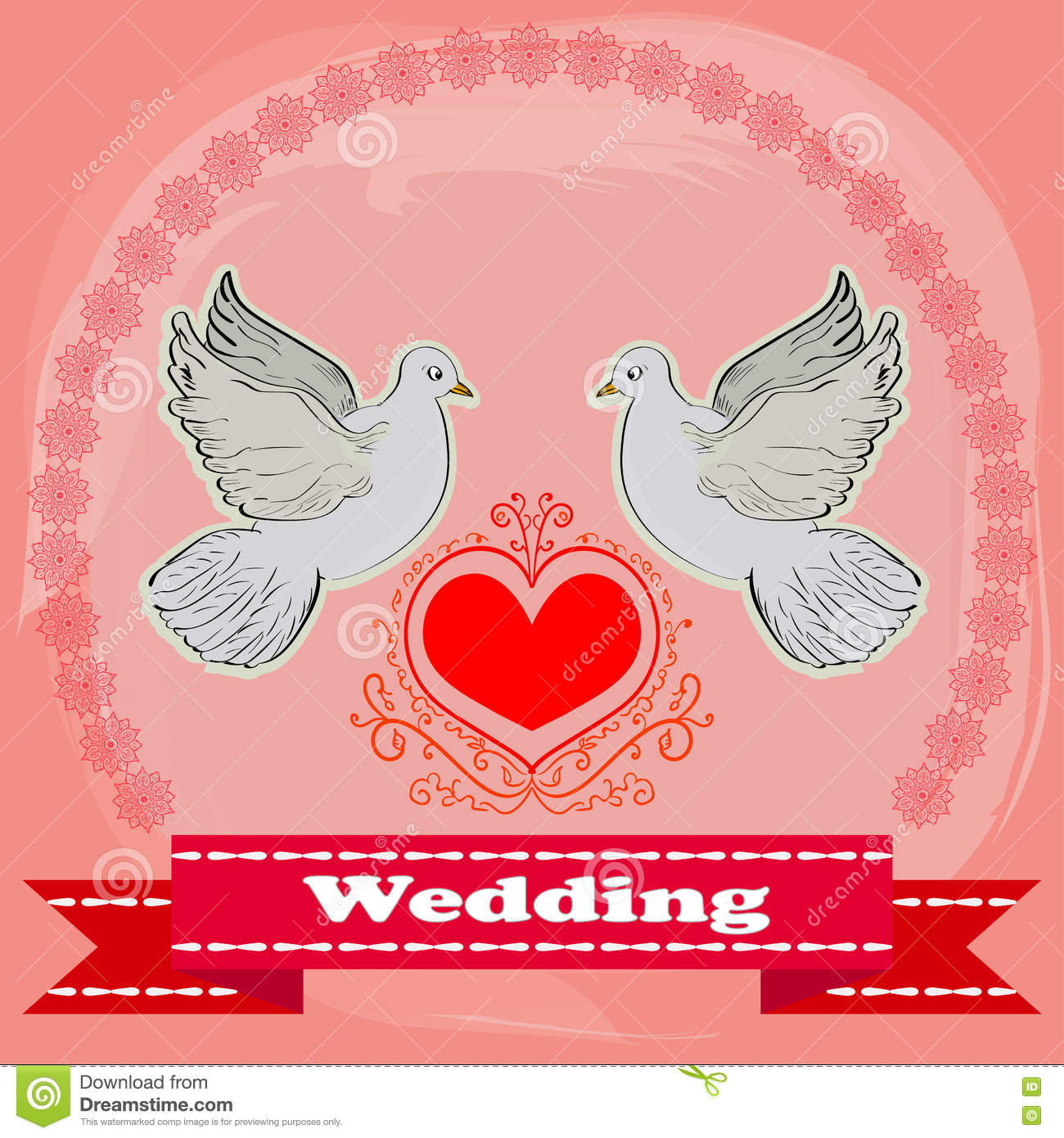 doves and flowers wedding invitation card vector free - 28 images ...