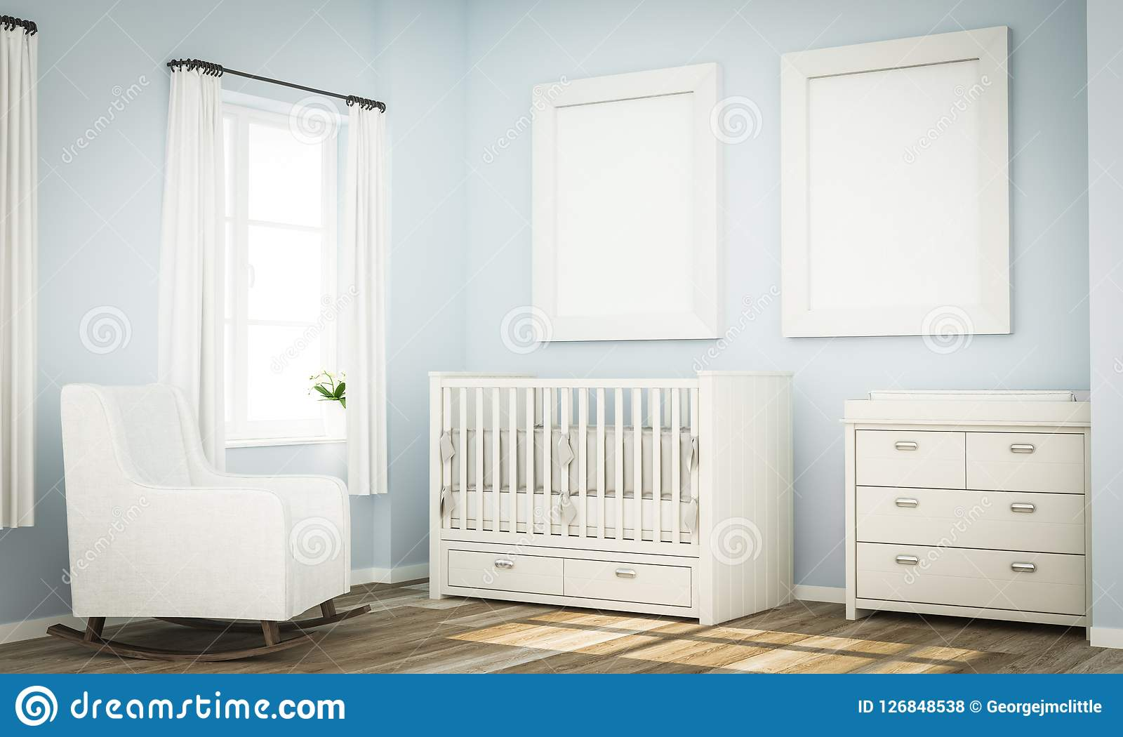 Mockup Of Two Blank Frames On Blue Baby Room Wall Stock