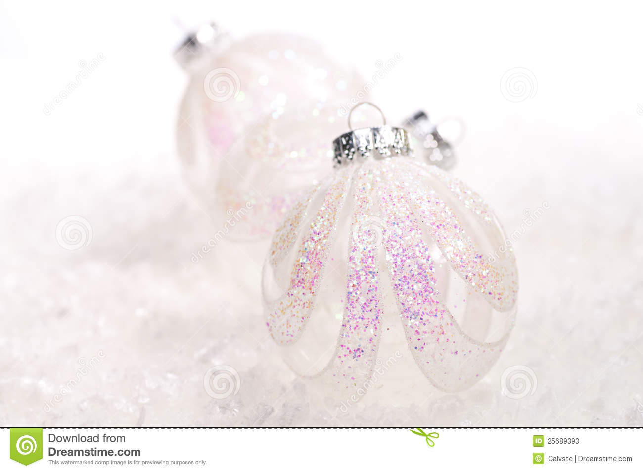 Two white glass christmas baubles stock photos image for White christmas baubles