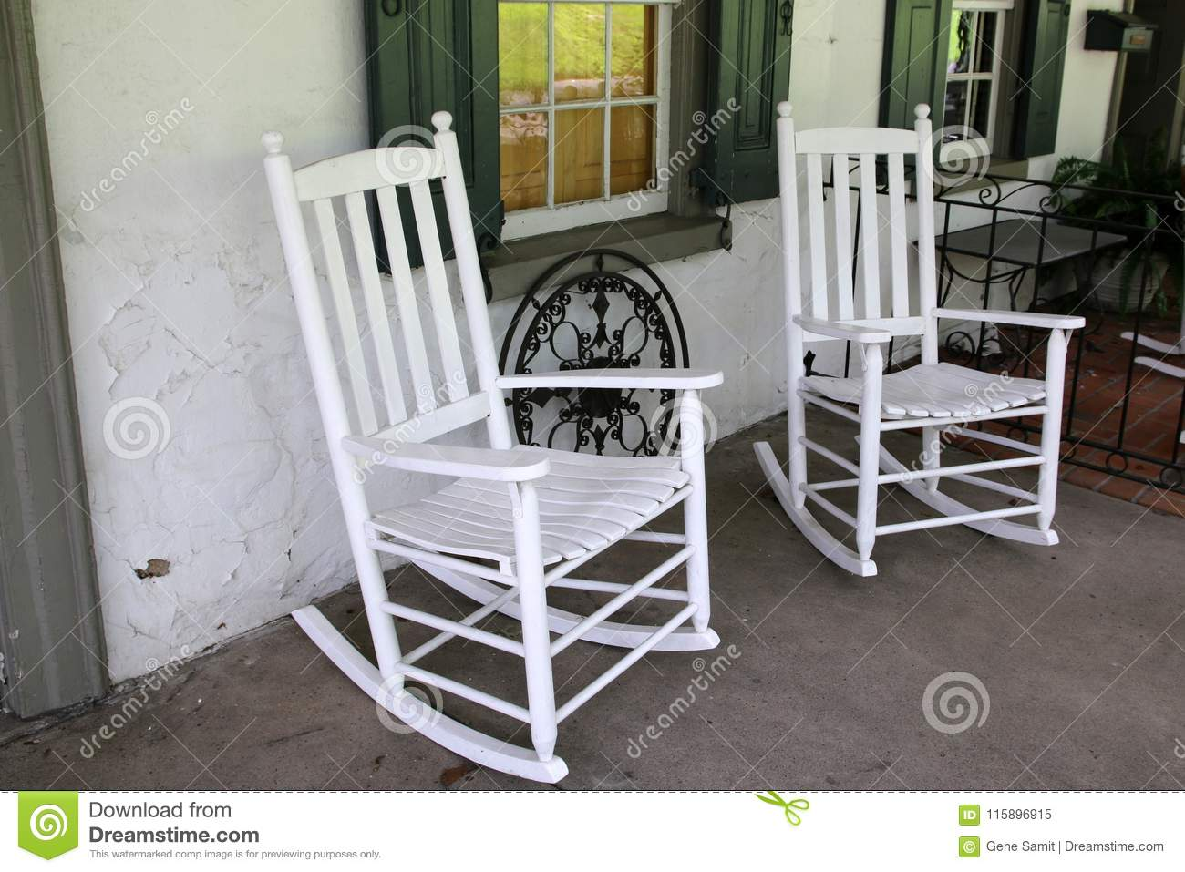 Two White Rocking Chairs On The Porch Stock Image Image Of