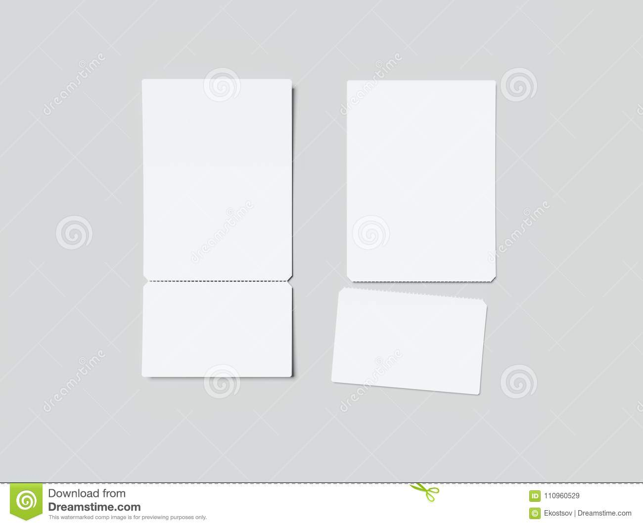 two white tear off tickets 3d rendering stock illustration