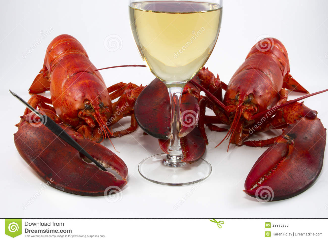 Two Lobsters Wine Glass Royalty Free Stock Image - Image: 29973786
