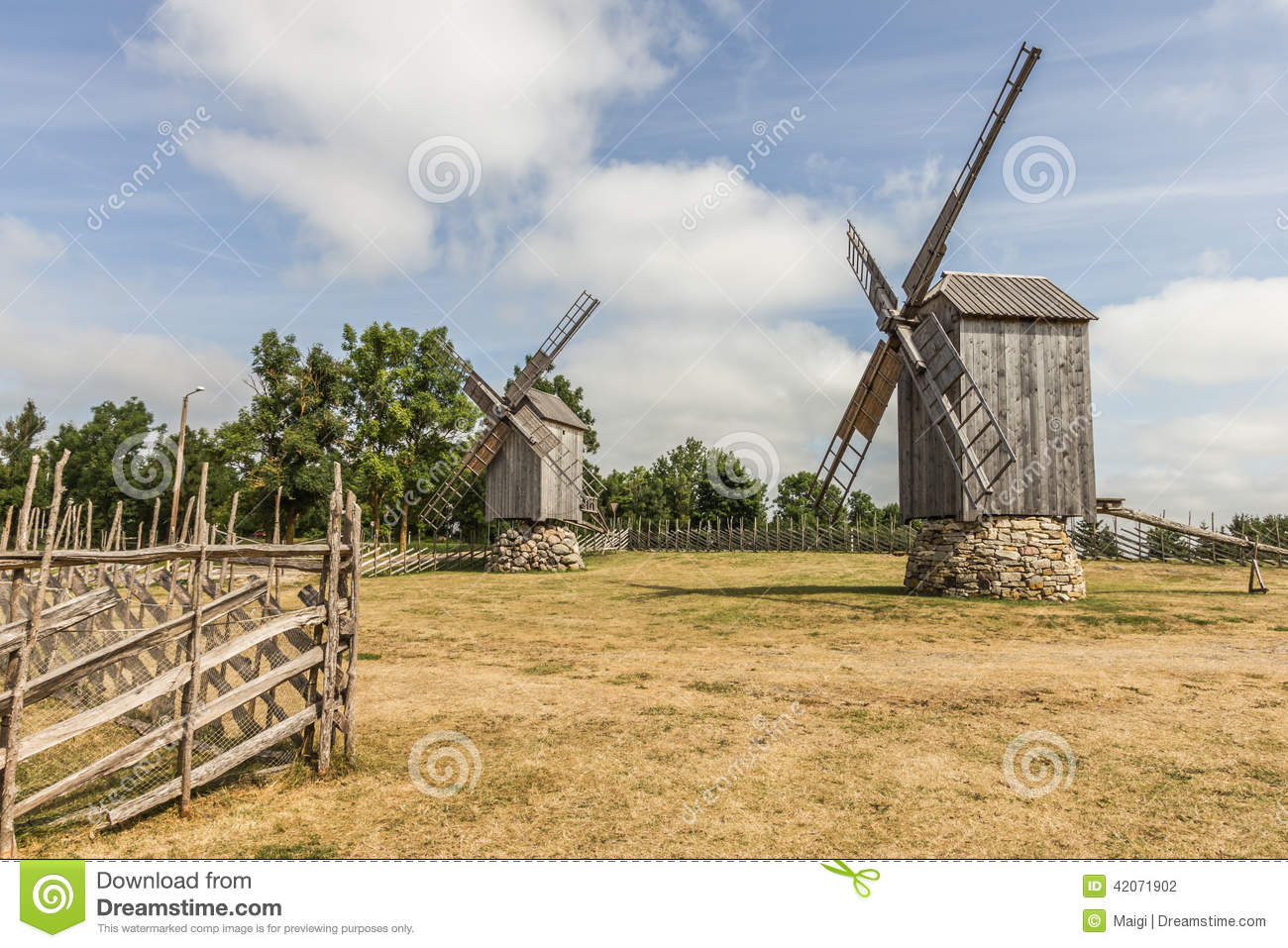 Download Two Windmills stock photo. Image of mills, ecological - 42071902