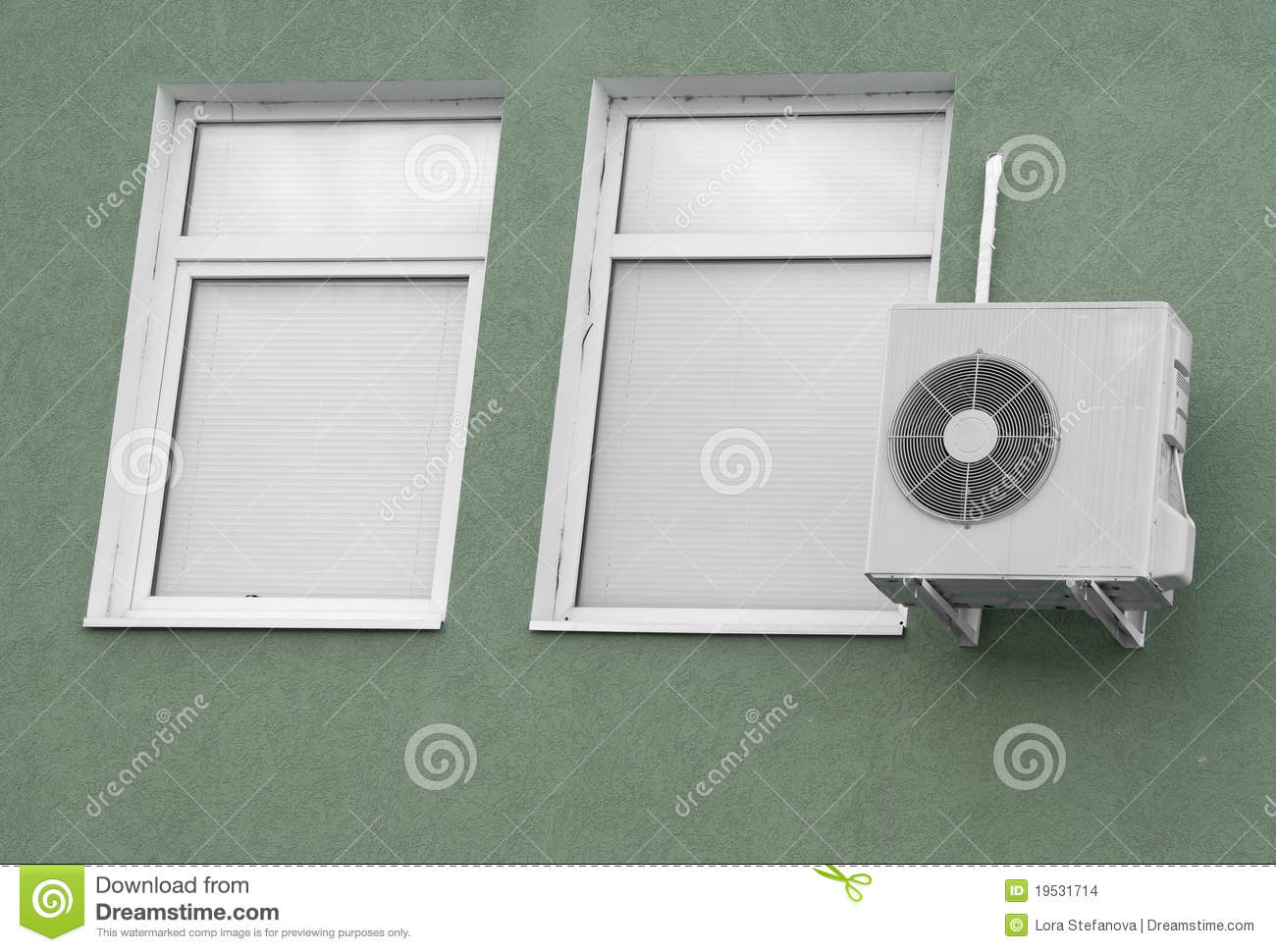 Two windows with white blinds and air-condition