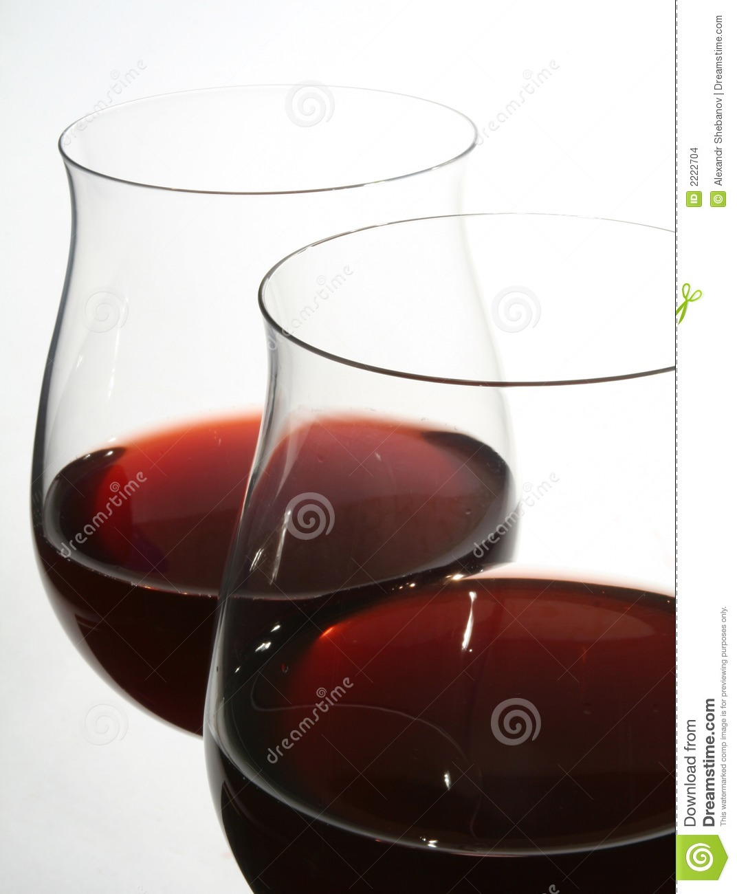 Two wine glasses with red wine