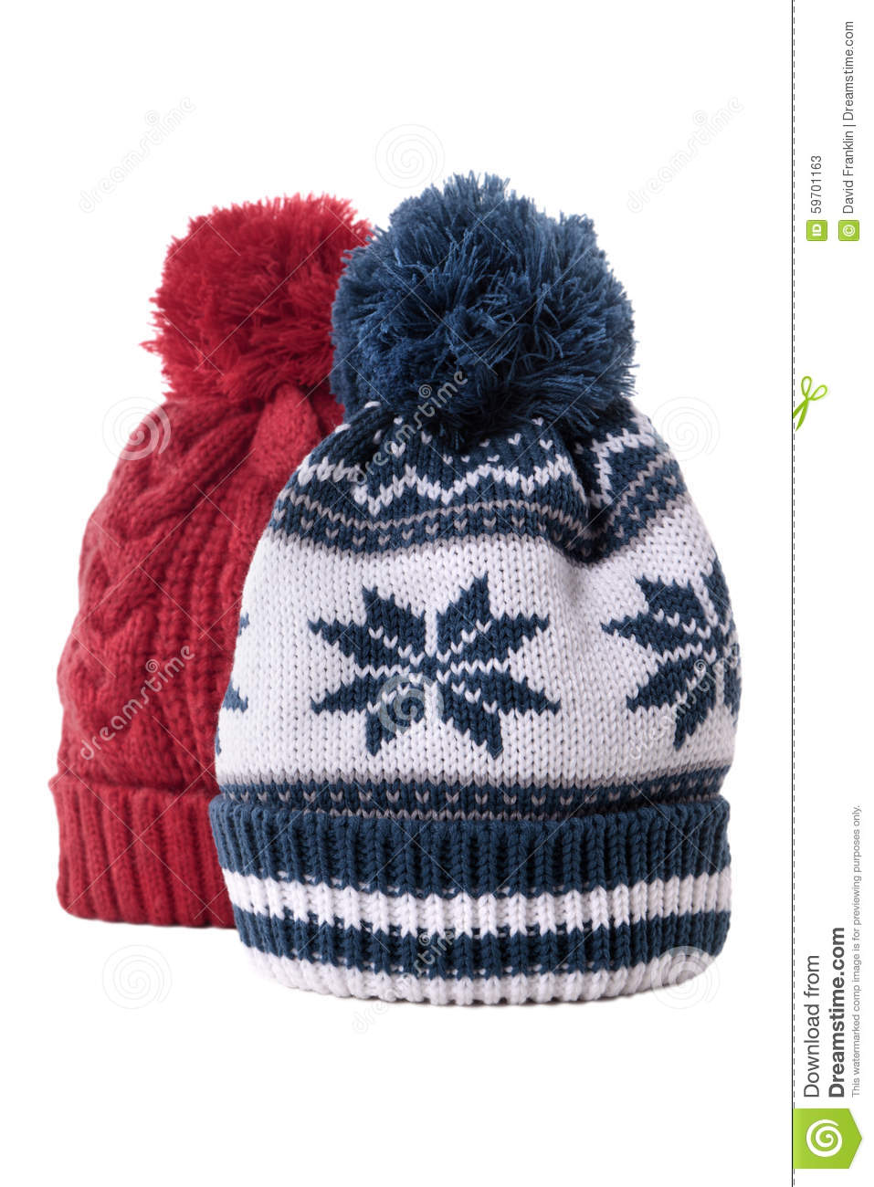aed7fa26797 Two Winter Wool Knit Hats Isolated On White Background Stock Image ...