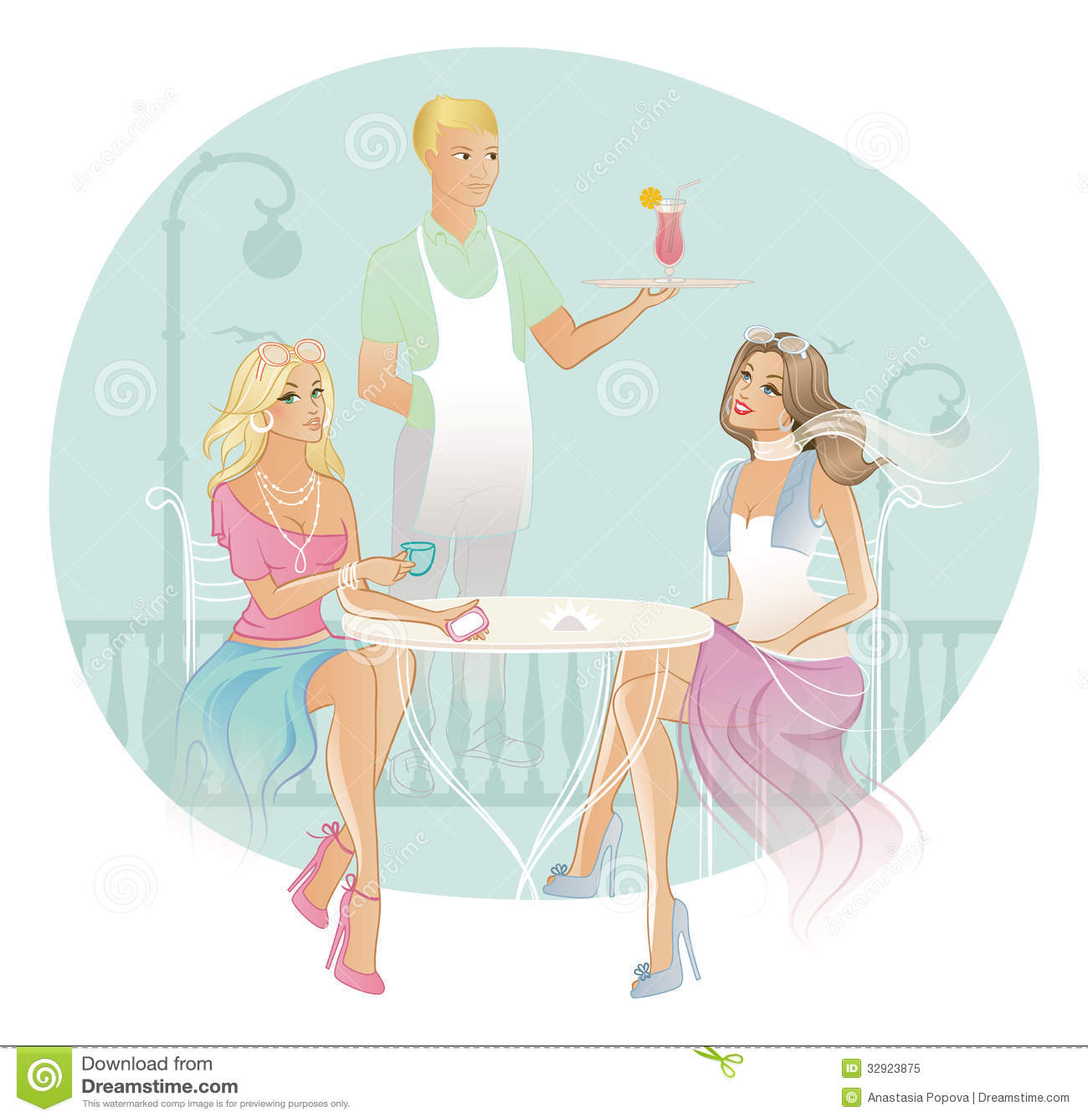 pretty woman drinking tea in cafe vector cartoon vector 51033195. Black Bedroom Furniture Sets. Home Design Ideas