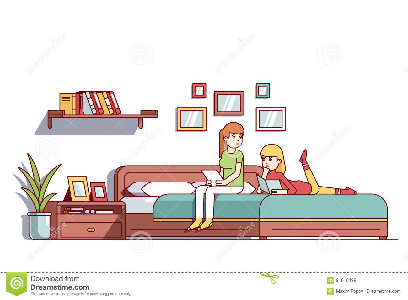 Two Woman Sitting On Bedroom Double Bed Talking Stock Vector ...