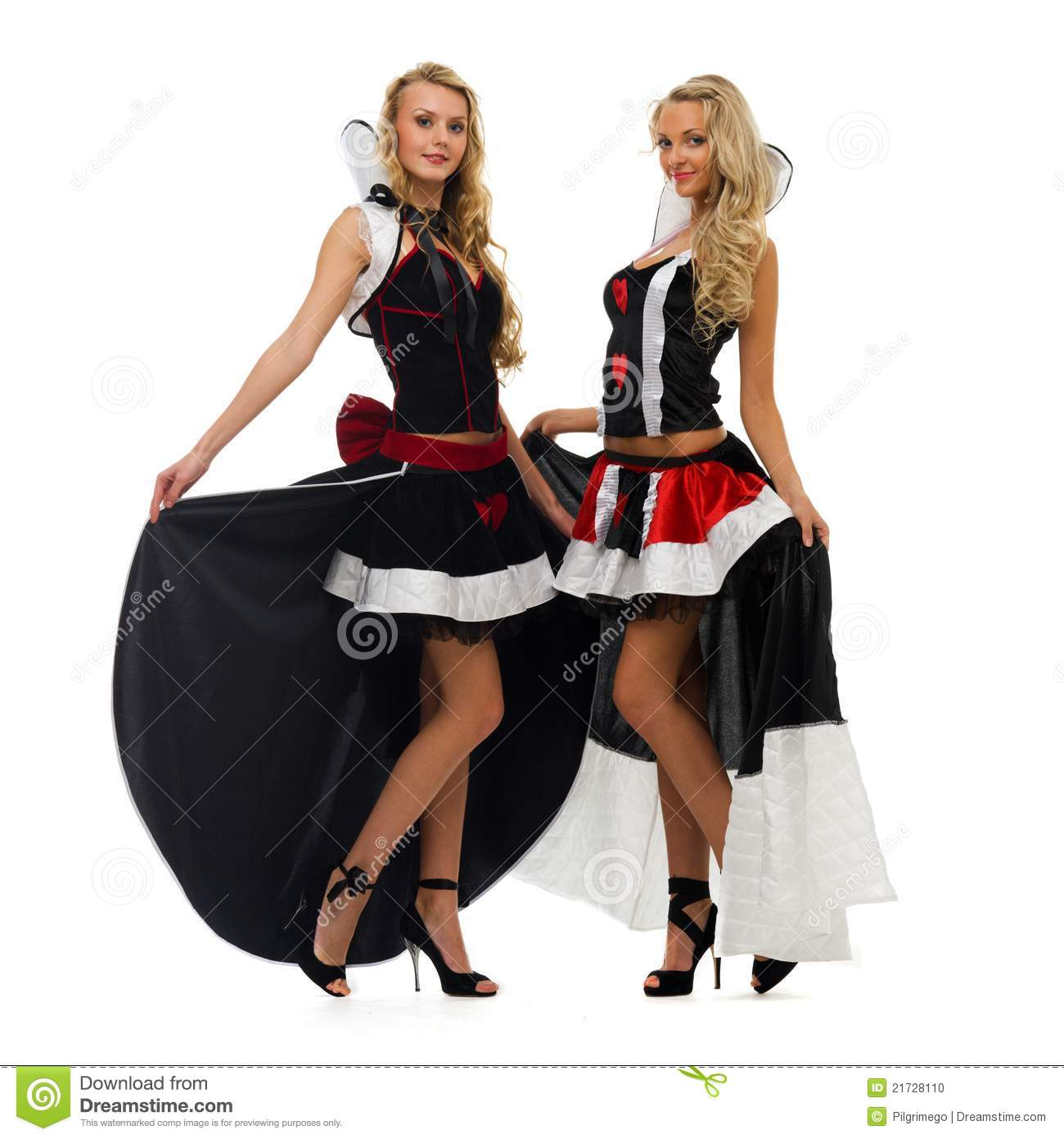 Two Women In Carnival Costumes Domino Shape Stock Photo
