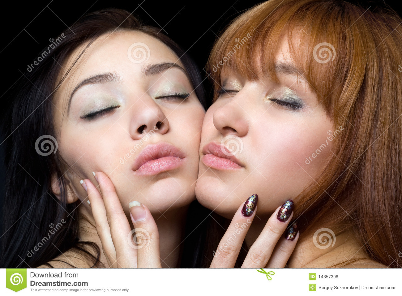 Two women with closed eyes