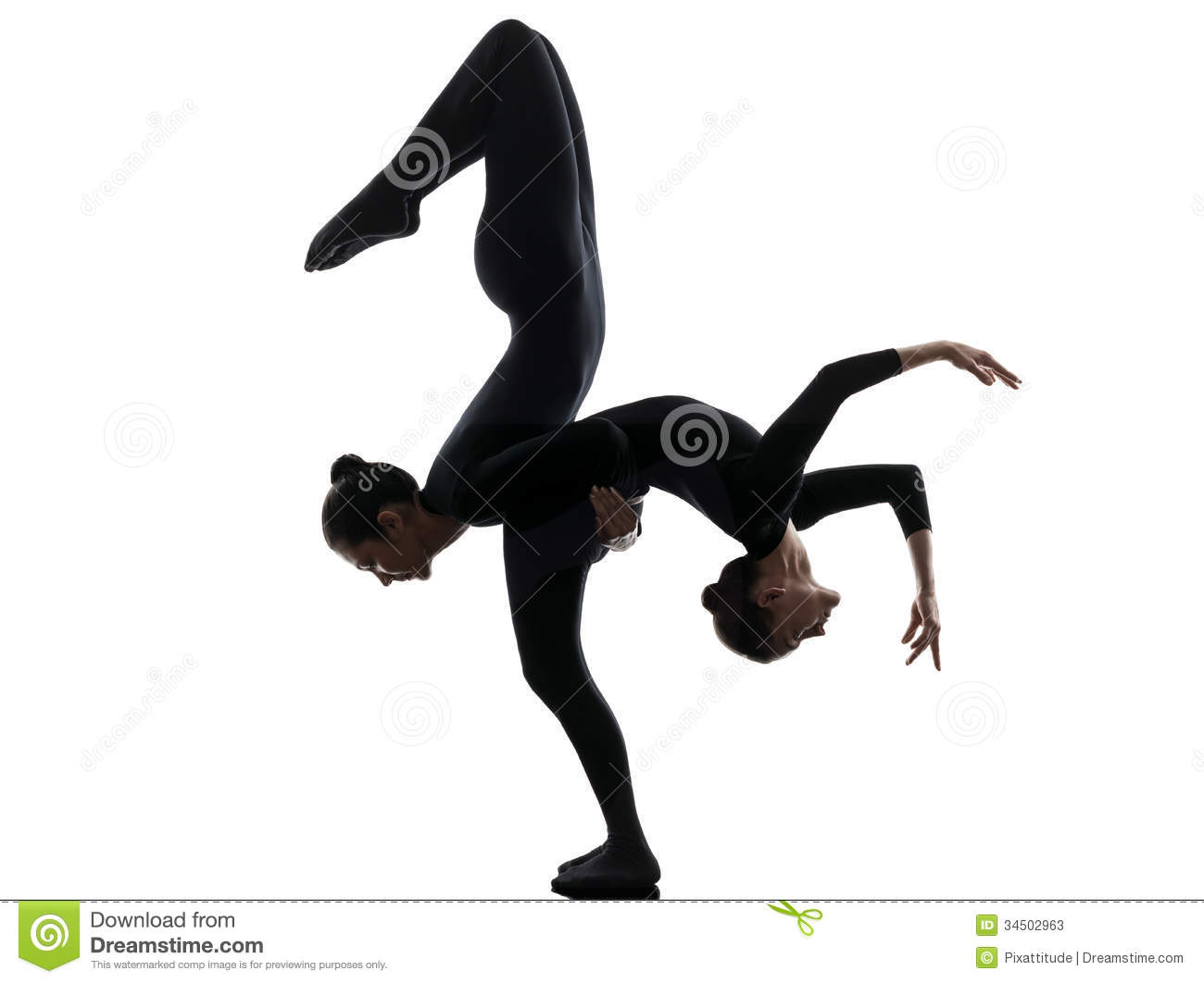 Two Women Contortionist Exercising Gymnastic Yoga