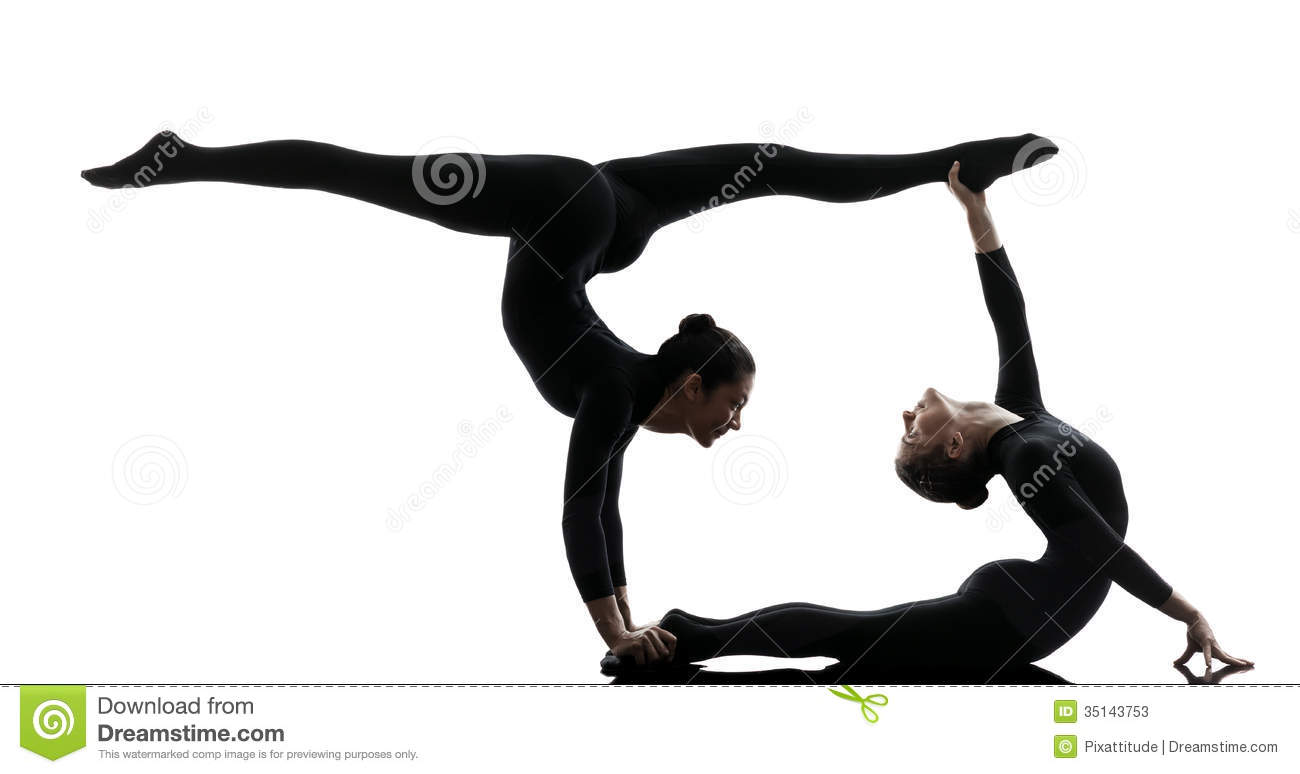 Two Women Contortionist Exercising Gymnastic Yoga Silhouette Stock ...