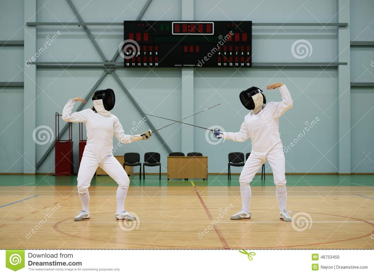 Two Women On A Fencing Training Stock Photo - Image of ...