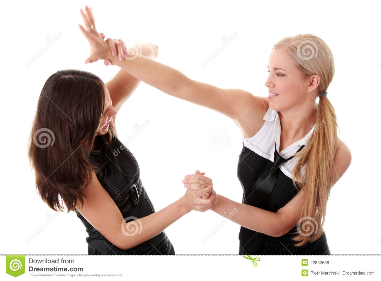 Men and woman fist fighting