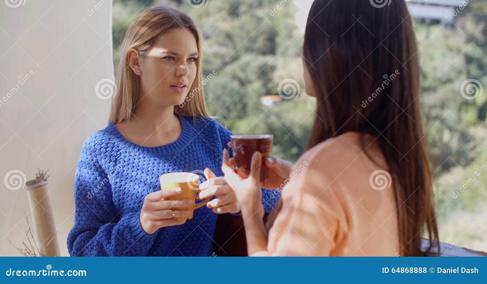 Two women having a friendly chat
