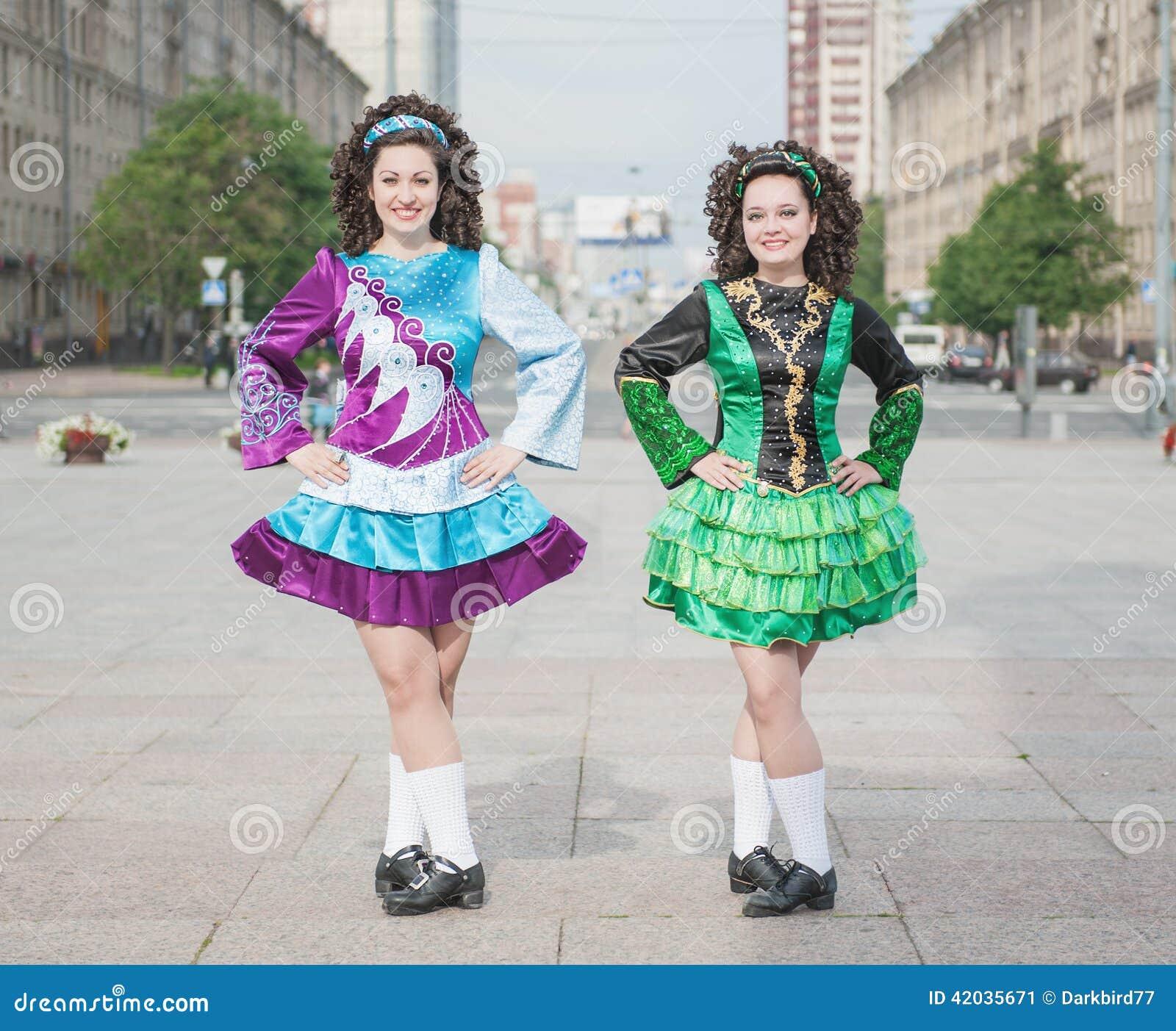 Two Women In Irish Dance Dresses Posing Stock Image - Image of city ... 40e576460c