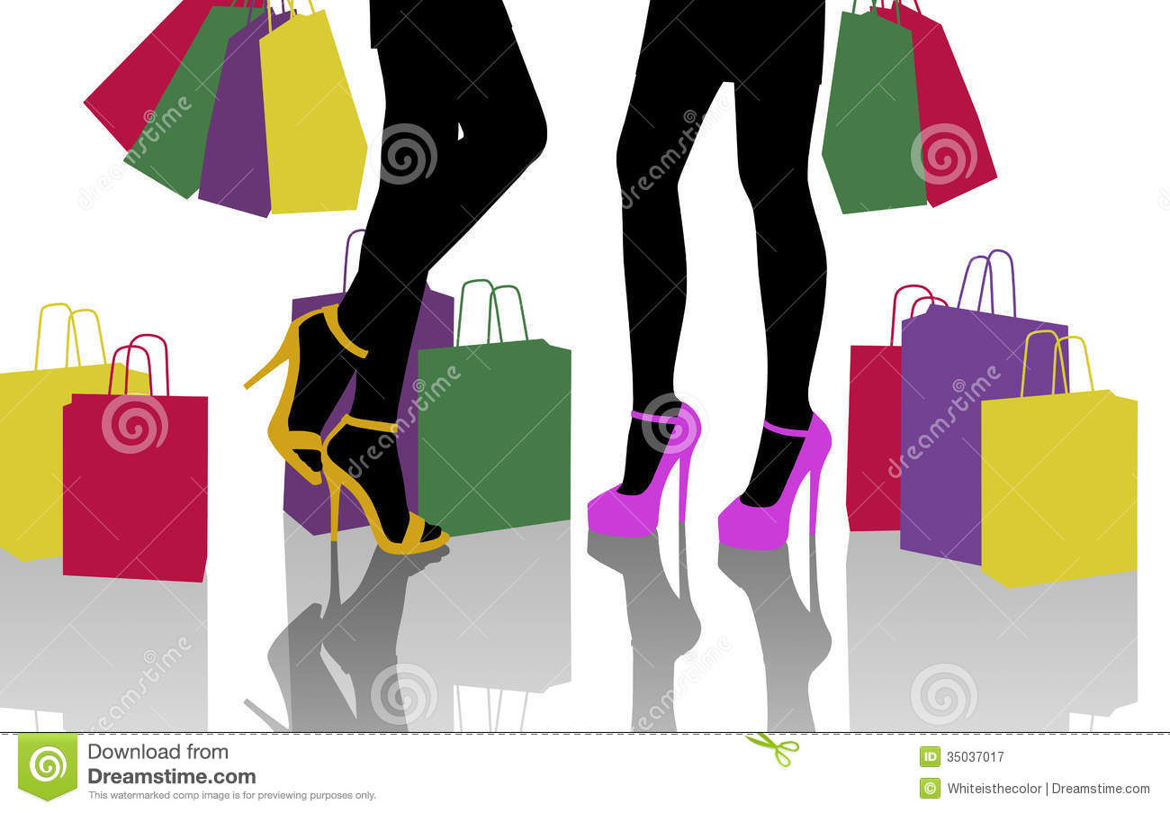 Two Women With Lots Of Colorful Shopping Bags Royalty Free Stock ...