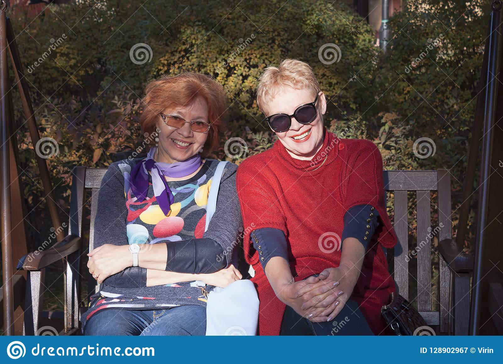 Two Women Of Mature Age On A Bench In Autumn Park Stock Image