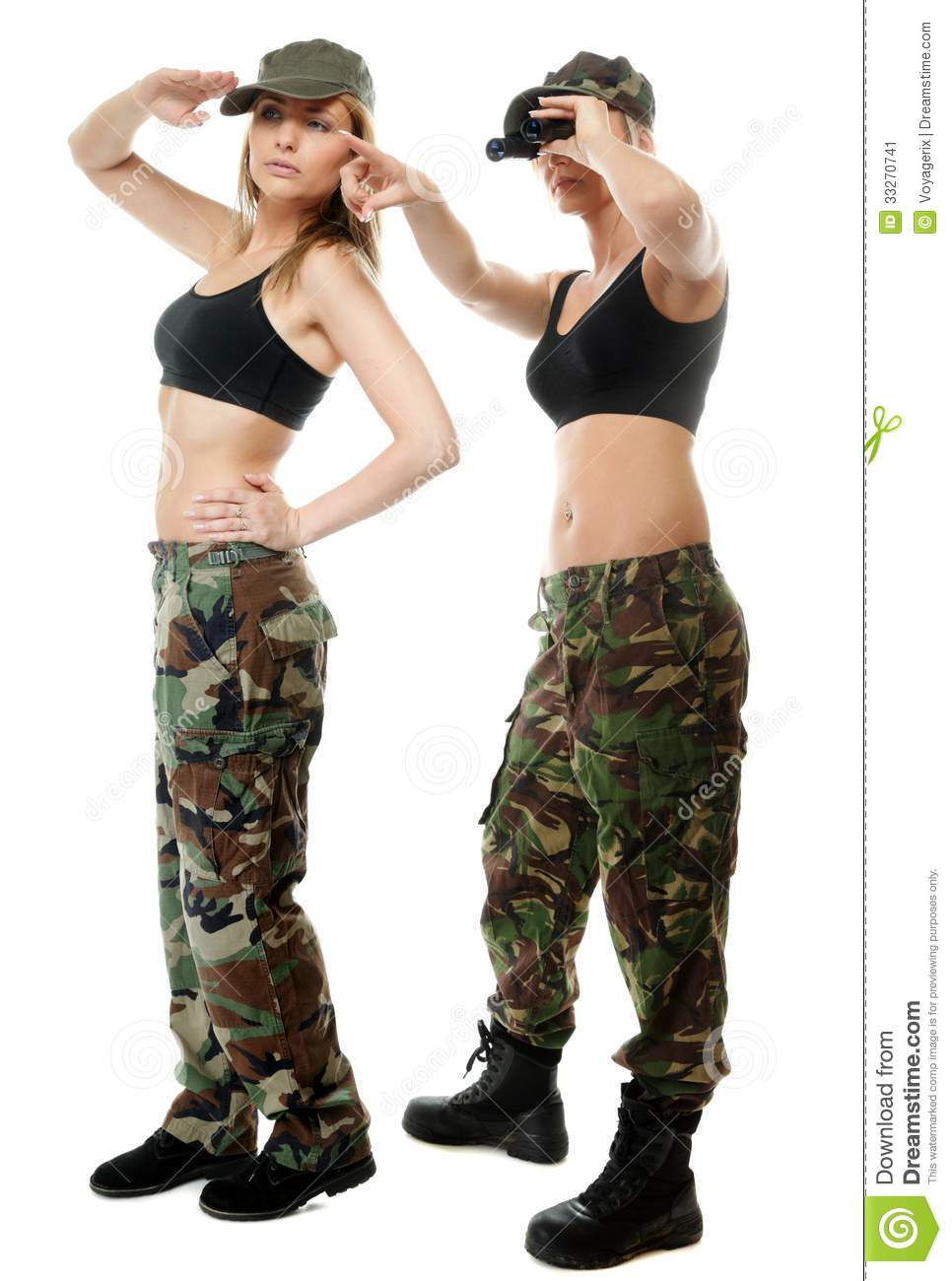 Full length two women in military clothes with binoculars army girls
