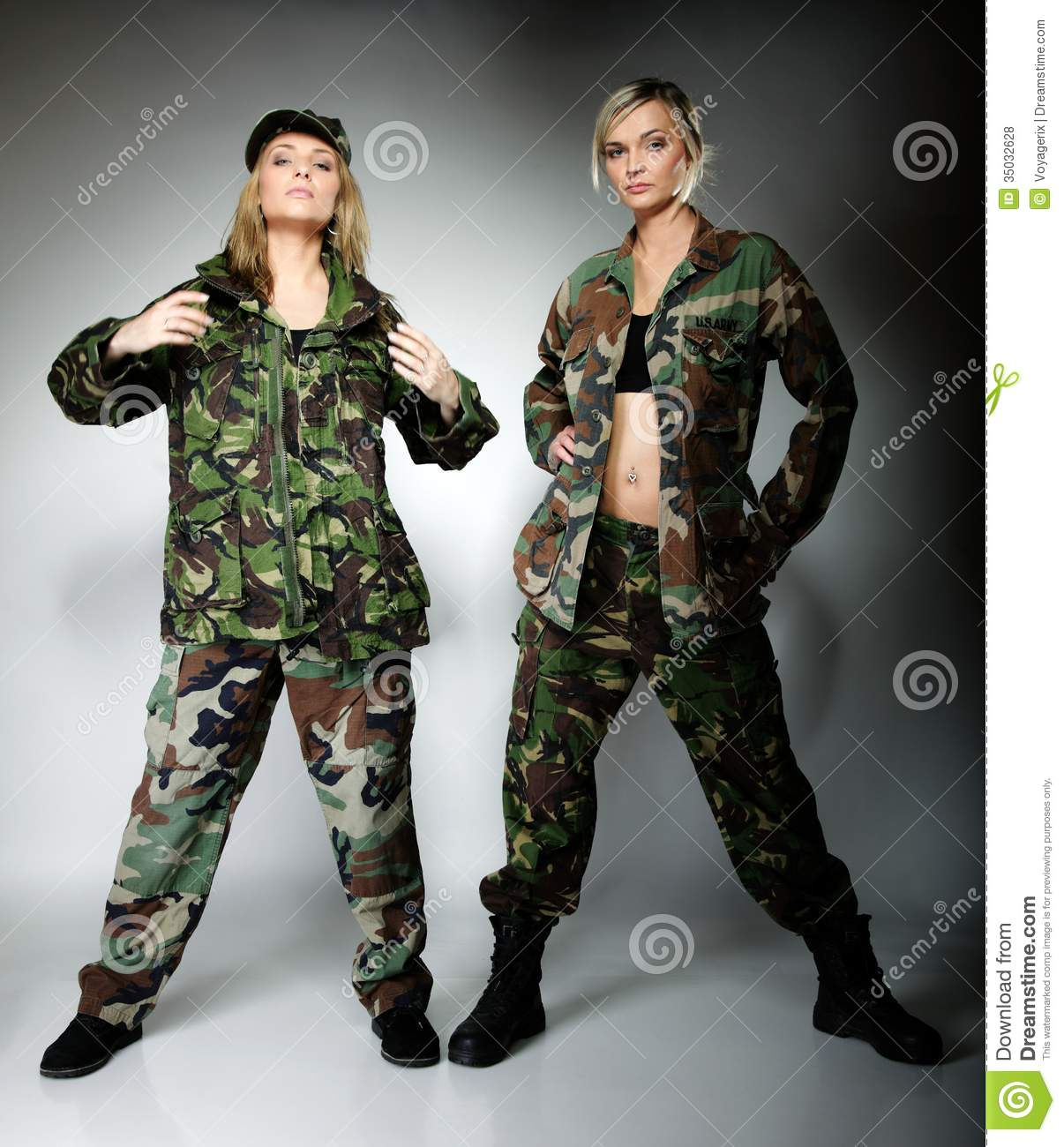 Full length two women in military clothes army girls on gray